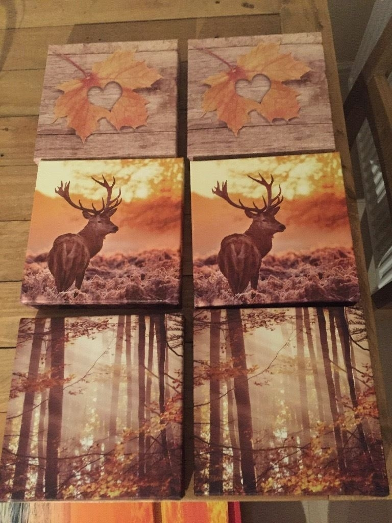 Sainsburys Wall Art Canvas 3 Piece Stag/deer | In Crookston Inside Latest Gumtree Canvas Wall Art (View 6 of 15)