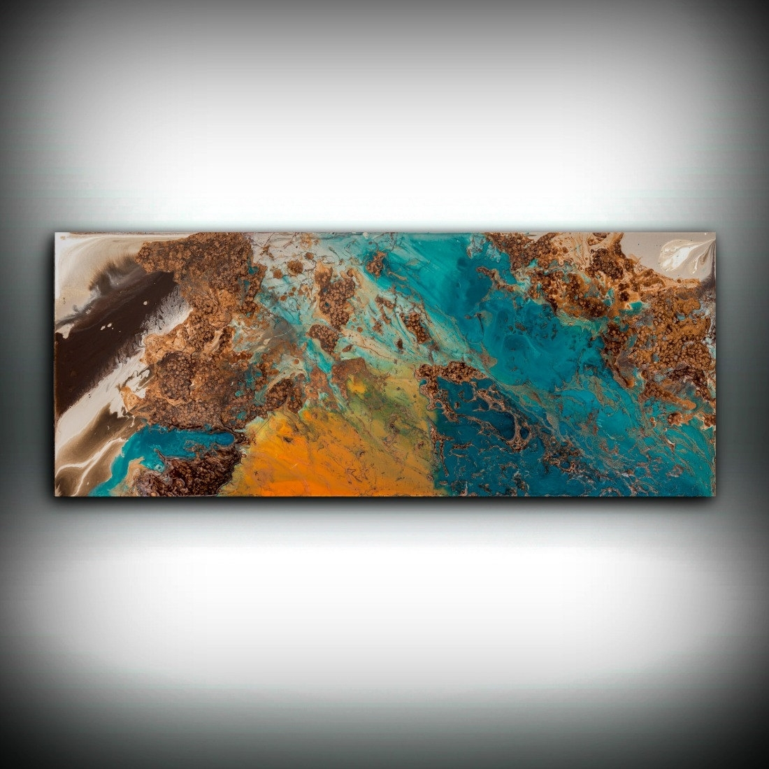 Sale Blue And Copper Art, Wall Art Prints Fine Art Prints Abstract With Regard To Most Up To Date Blue And Brown Canvas Wall Art (View 10 of 15)