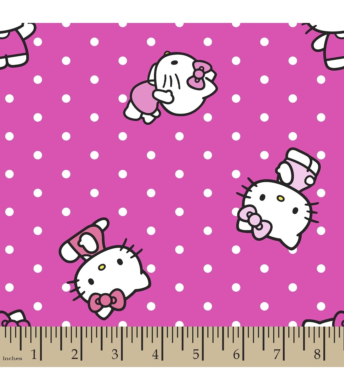 Sanrio Hello Kitty Print Fabric Dots | Joann In Best And Newest Hello Kitty Canvas Wall Art (View 11 of 15)