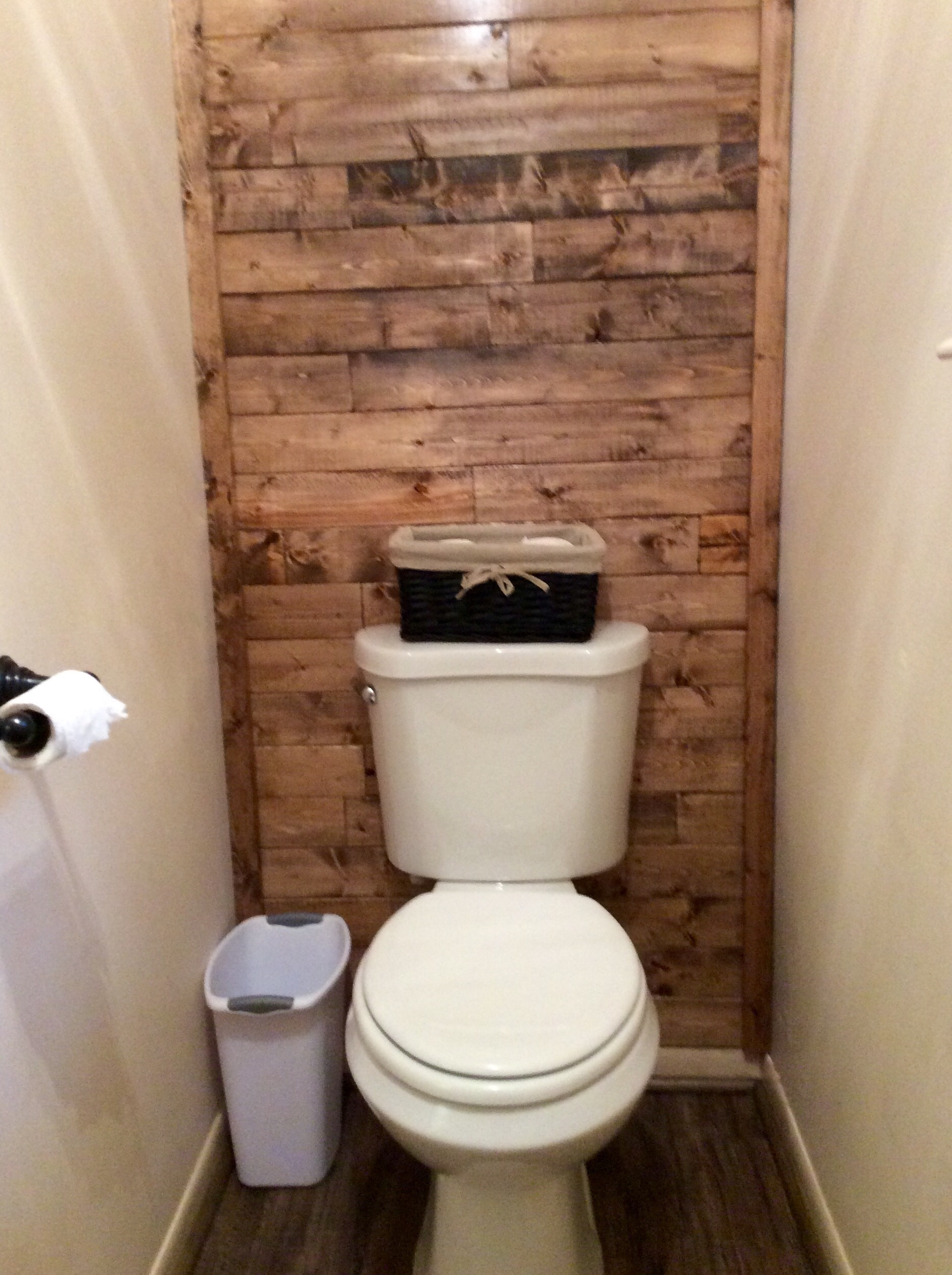 Scrap Wood Accent Wall | The Weekend Country Girl With Regard To Newest Wall Accents Behind Toilet (View 6 of 15)