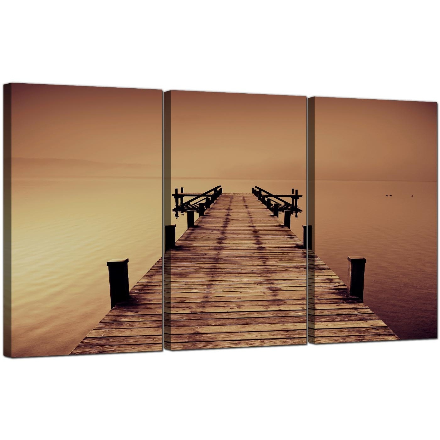 Seaside Canvas Pictures 3 Panel For Your Living Room Within Recent Jetty Canvas Wall Art (Gallery 3 of 15)
