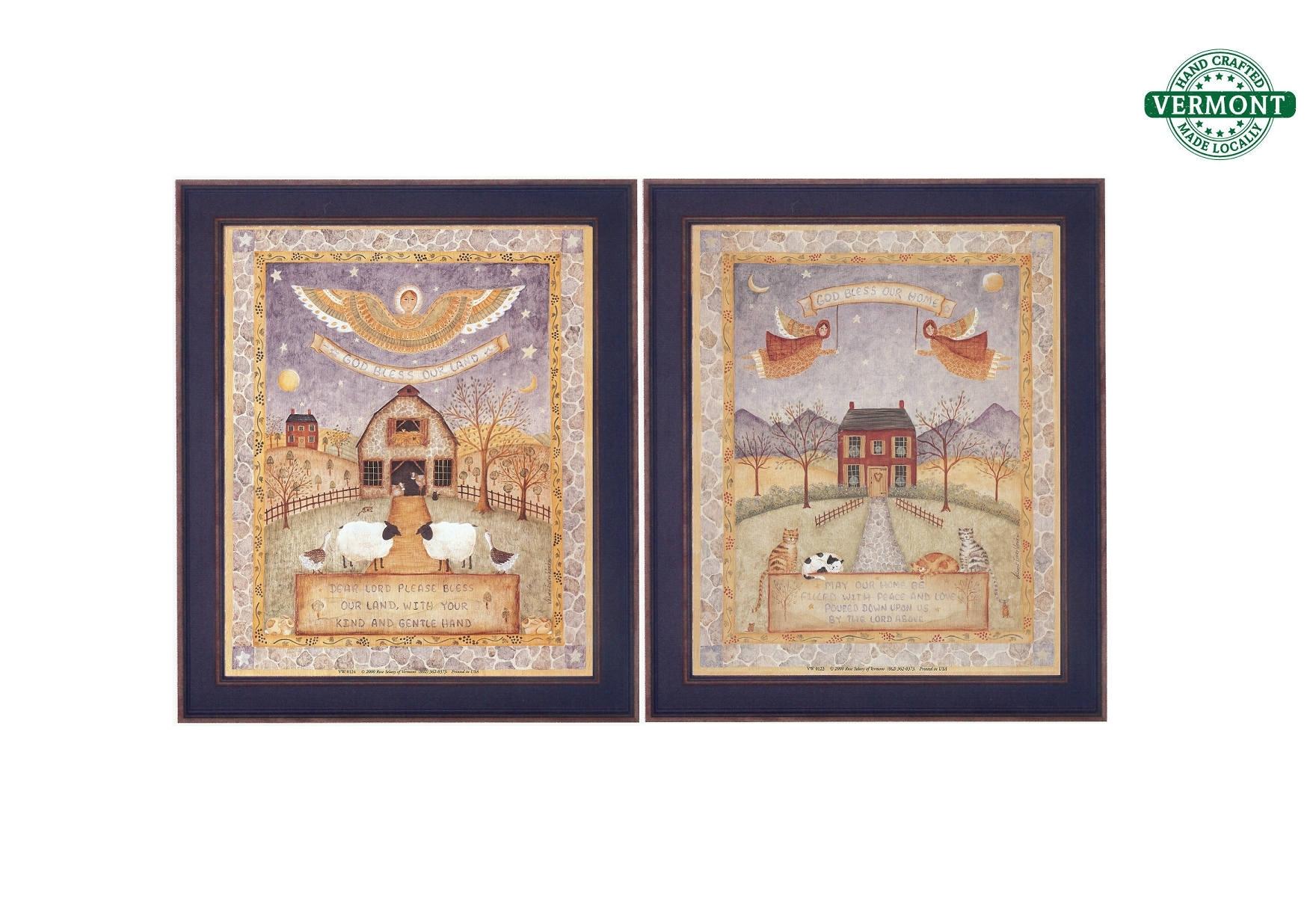 Set Of 2 Vintage Framed Folk Art Prints God Bless Our Home With Regard To Best And Newest Framed Folk Art Prints (View 6 of 15)