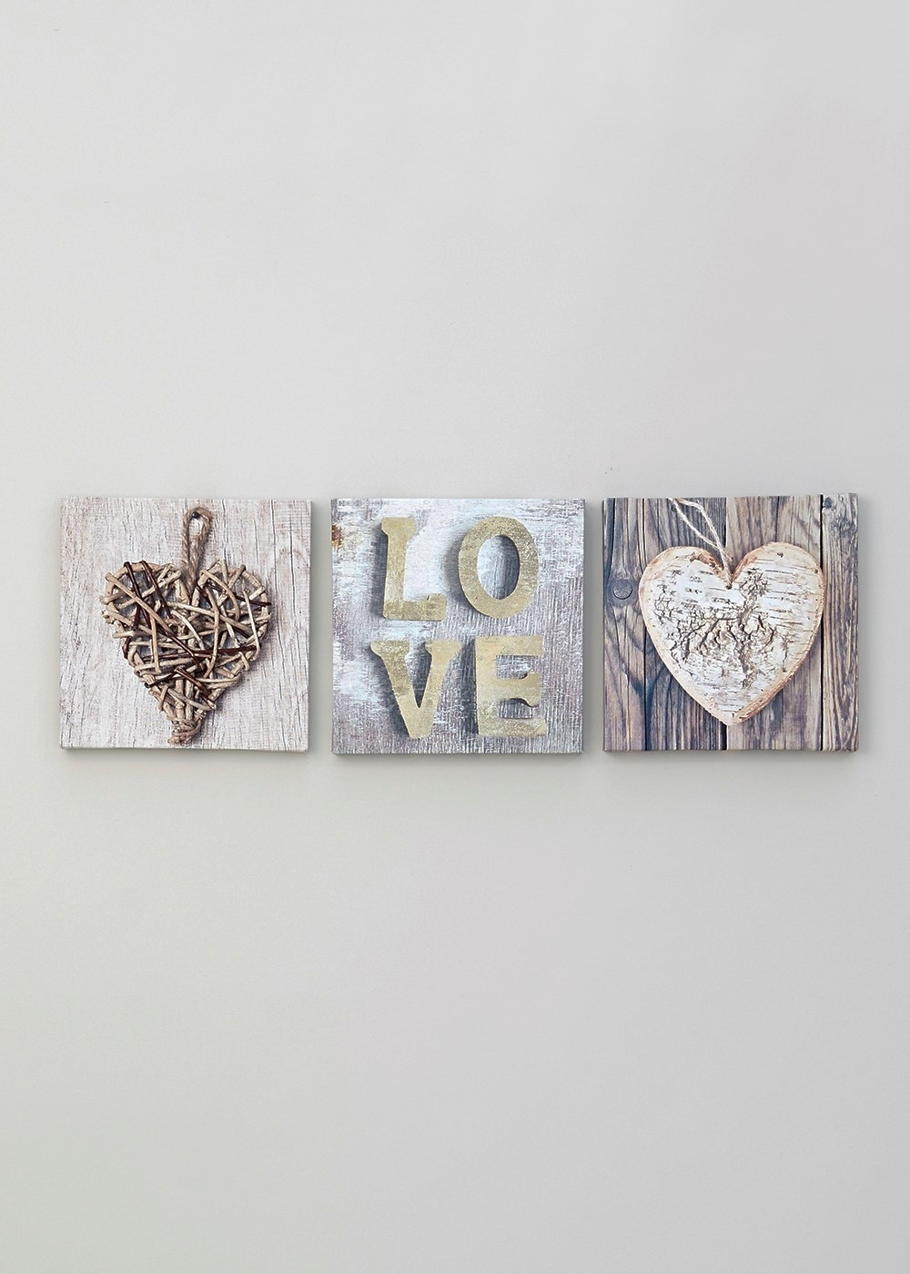 Set Of 3 Heart And Love Prints (20cm X 20cm) – Matalan | House Pertaining To 2017 Matalan Canvas Wall Art (View 2 of 15)