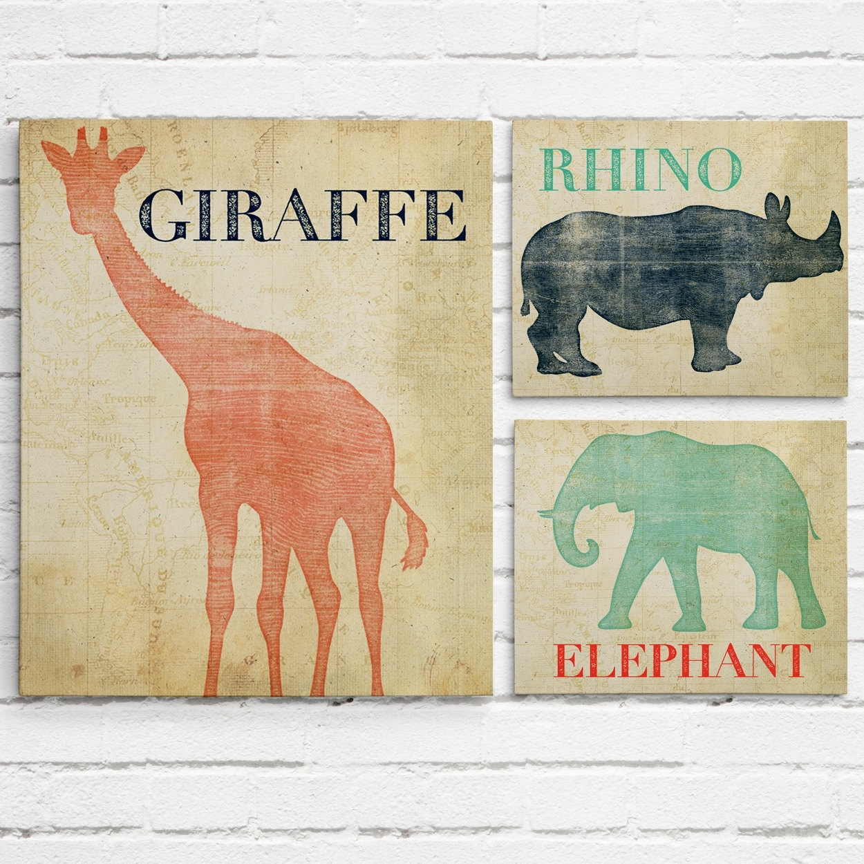 Set Of 3 Safari Animal Nursery Wall Art  Project Cottage Within Current Nursery Canvas Wall Art (View 12 of 15)