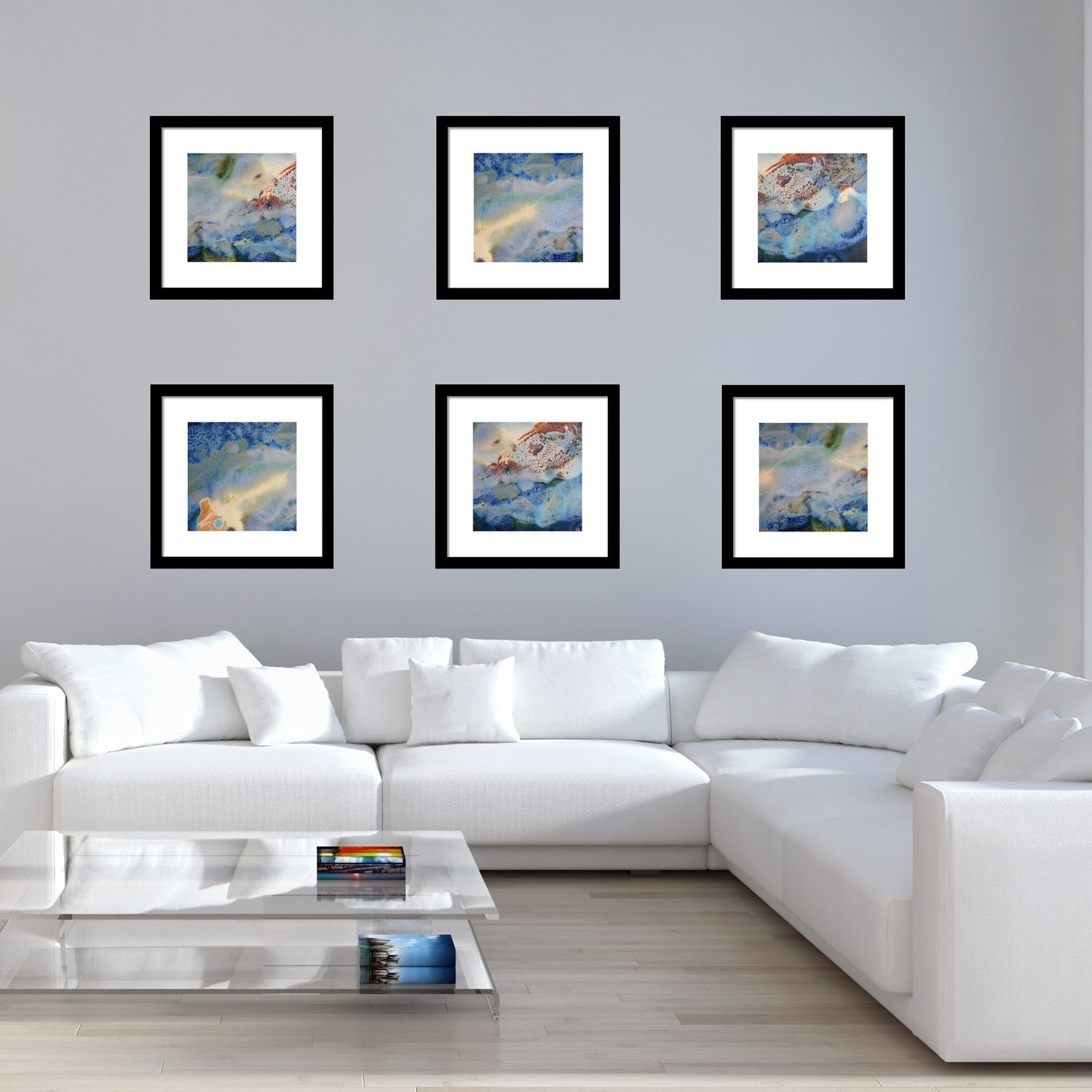 Set Of 6 Abstract Framed Prints – Square #17, 18 & 19 | White With Regard To 2017 Framed Beach Art Prints (View 13 of 15)