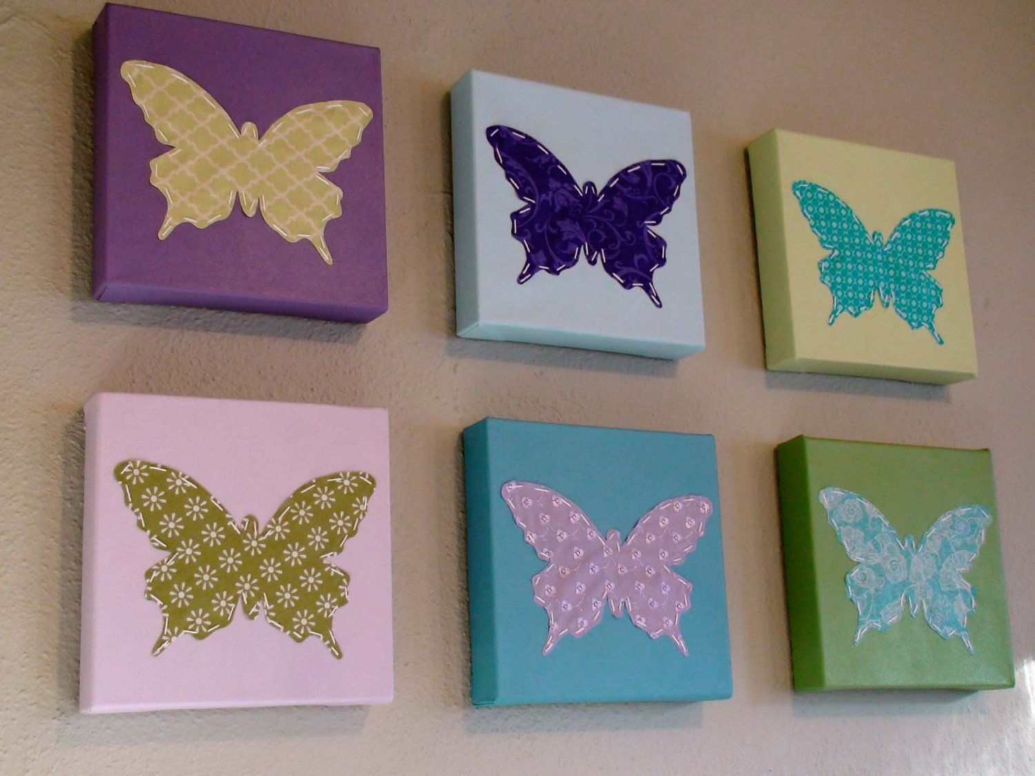 Set Of 6 Butterfly Wall Art On Etsy Diy It With Canvas And With 2018 Fabric Butterfly Wall Art (View 10 of 15)