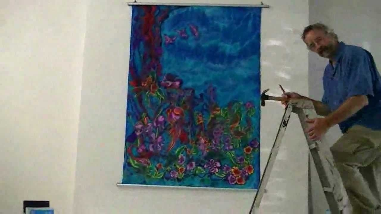 Sewing And Hanging Silk Wall Hanging – Youtube Regarding Most Recently Released Silk Fabric Wall Art (View 2 of 15)