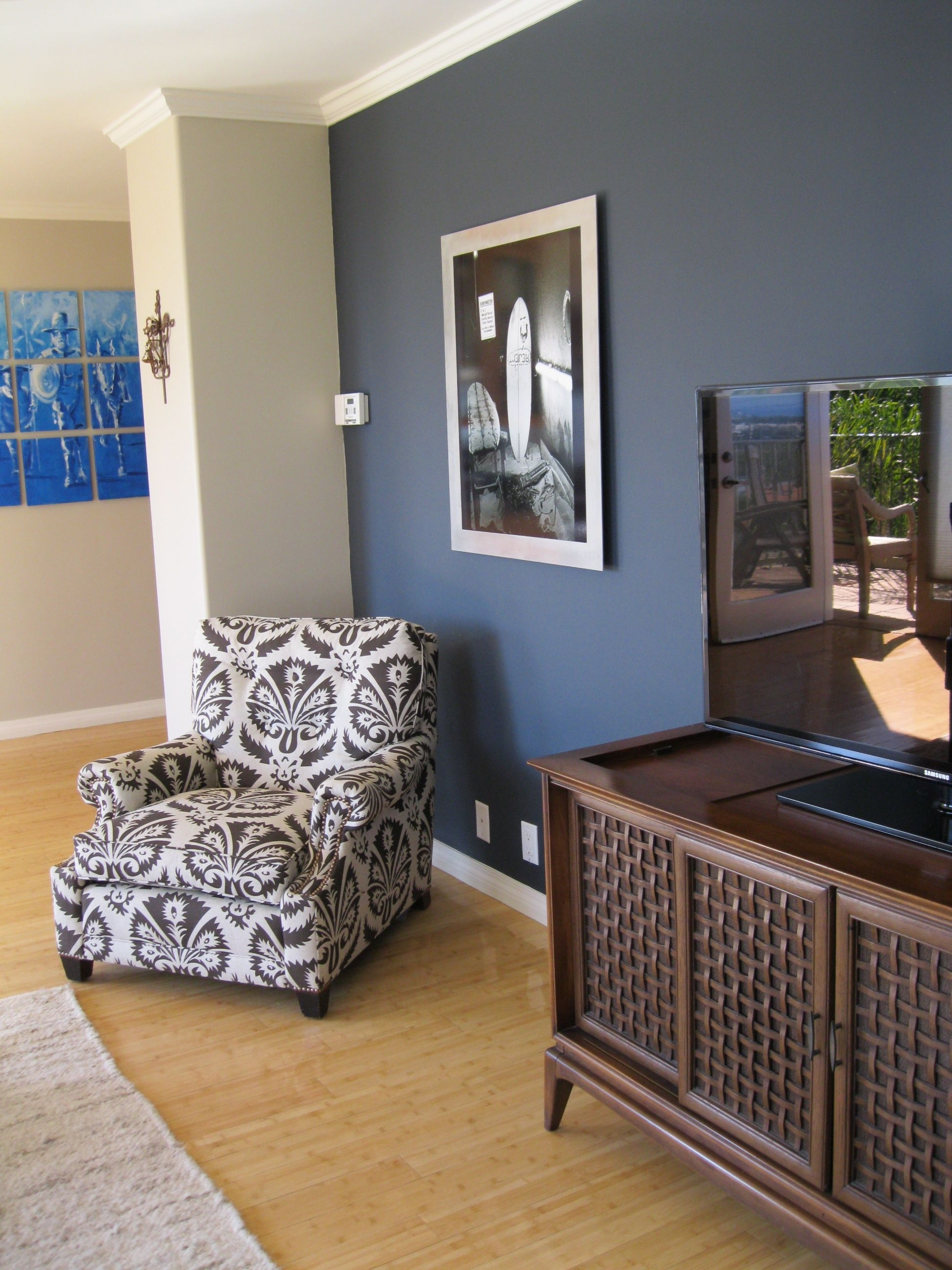 Shade Of Blue On Wall Camoflauges Tv. Love The Chair Too! | Home In Current Navy Wall Accents (Gallery 11 of 15)