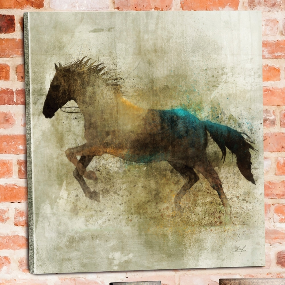Shadow Rider Horse Canvas Wall Art | Western Bedroom–raelin Inside Most Up To Date Horses Canvas Wall Art (View 2 of 15)