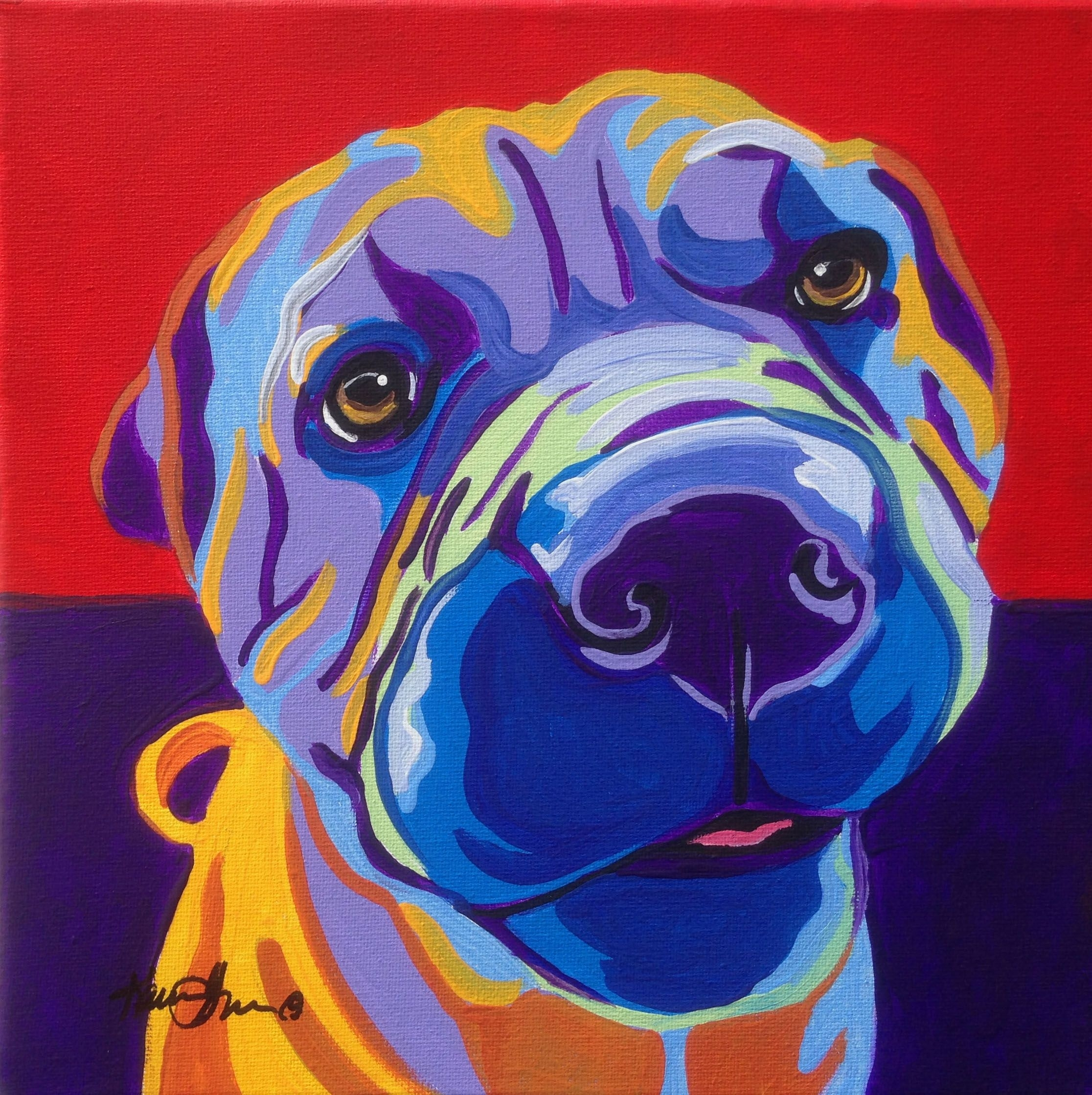 Shar Pei Pop Art Dog Portrait Commission. 12X12 Framed Prints $35 Inside Latest Dog Art Framed Prints (Gallery 12 of 15)