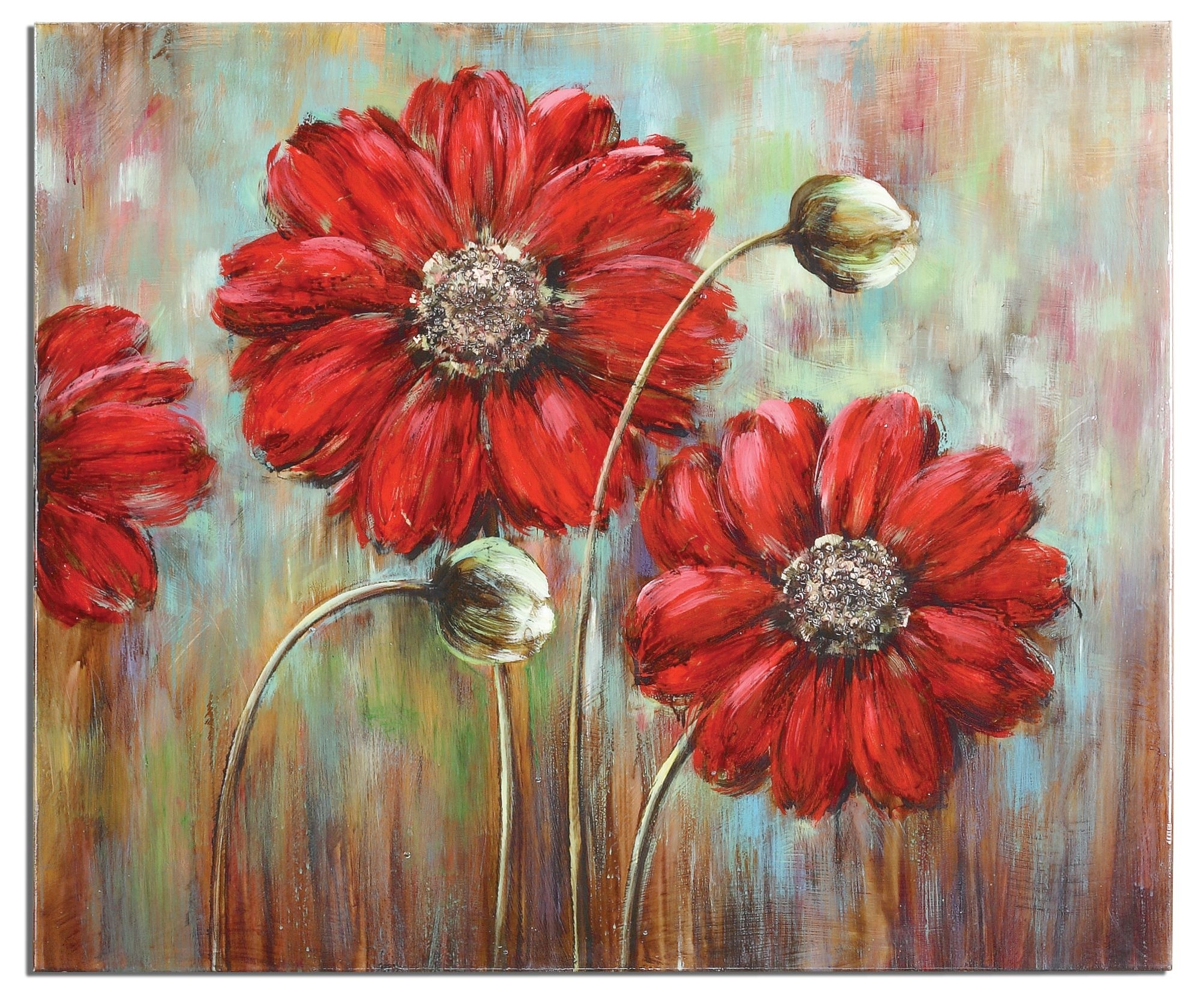 Shining Stars Floral Painting On Canvas Red Flower Wall Art Home Within Most Current Red Flowers Canvas Wall Art (View 2 of 15)