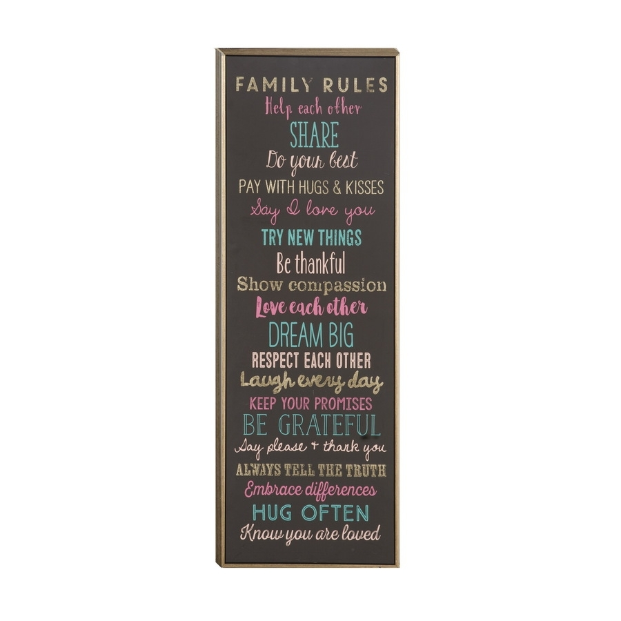 Shop 12 In W X 36 In H Framed Family Rules Print At Lowes With 2017 Canvas Wall Art Family Rules (View 12 of 15)