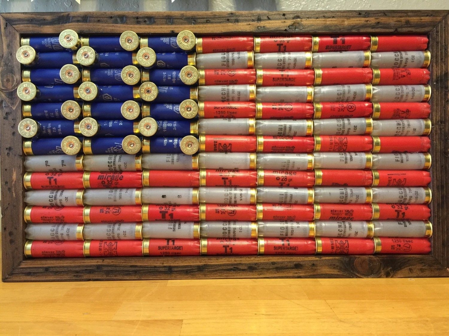 Shot Gun Shell American Flag, Rustic Americana, Americana, Wall For Most Current American Flag Fabric Wall Art (View 12 of 15)