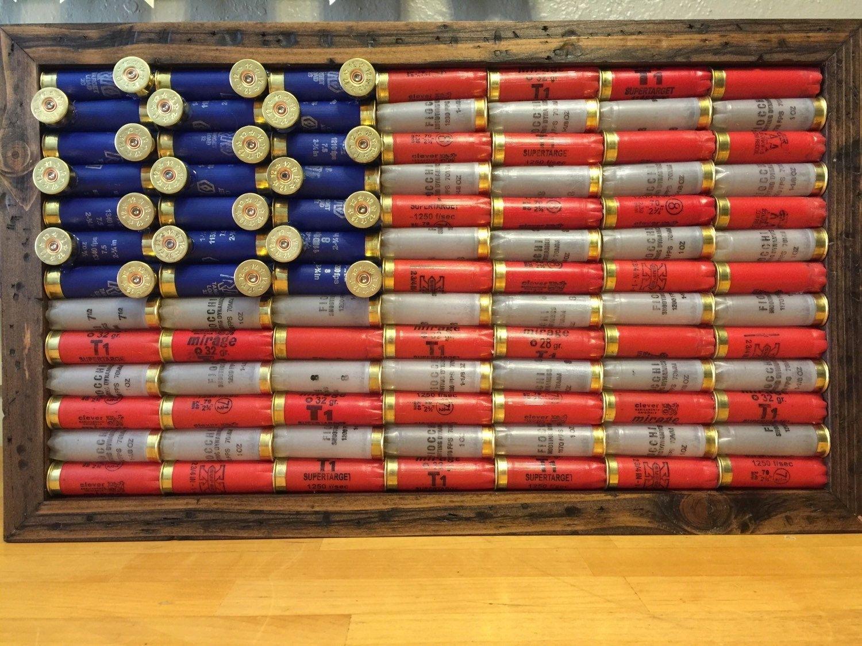 Shot Gun Shell American Flag, Rustic Americana, Americana, Wall For Most Current American Flag Fabric Wall Art (View 12 of 15)