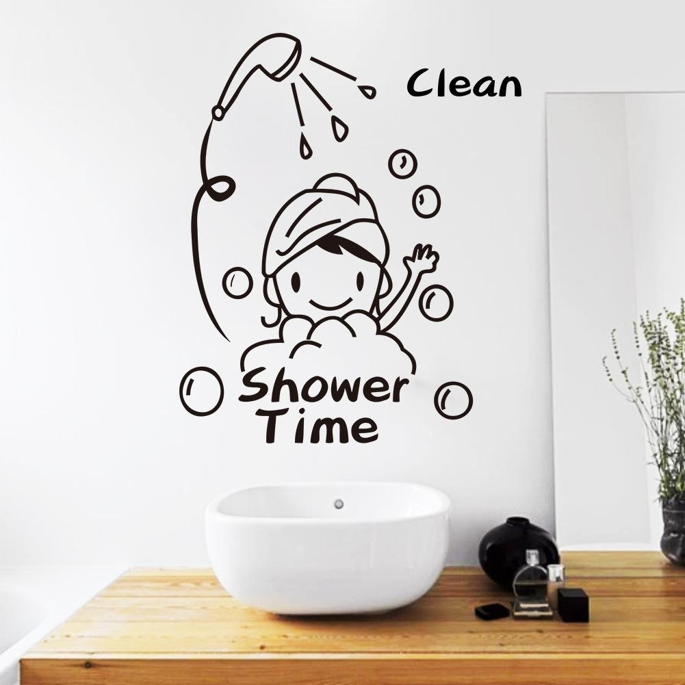 Shower Time Bathroom Wall Decor Stickers Lovely Child Removable Throughout Latest Adhesive Art Wall Accents (View 9 of 15)