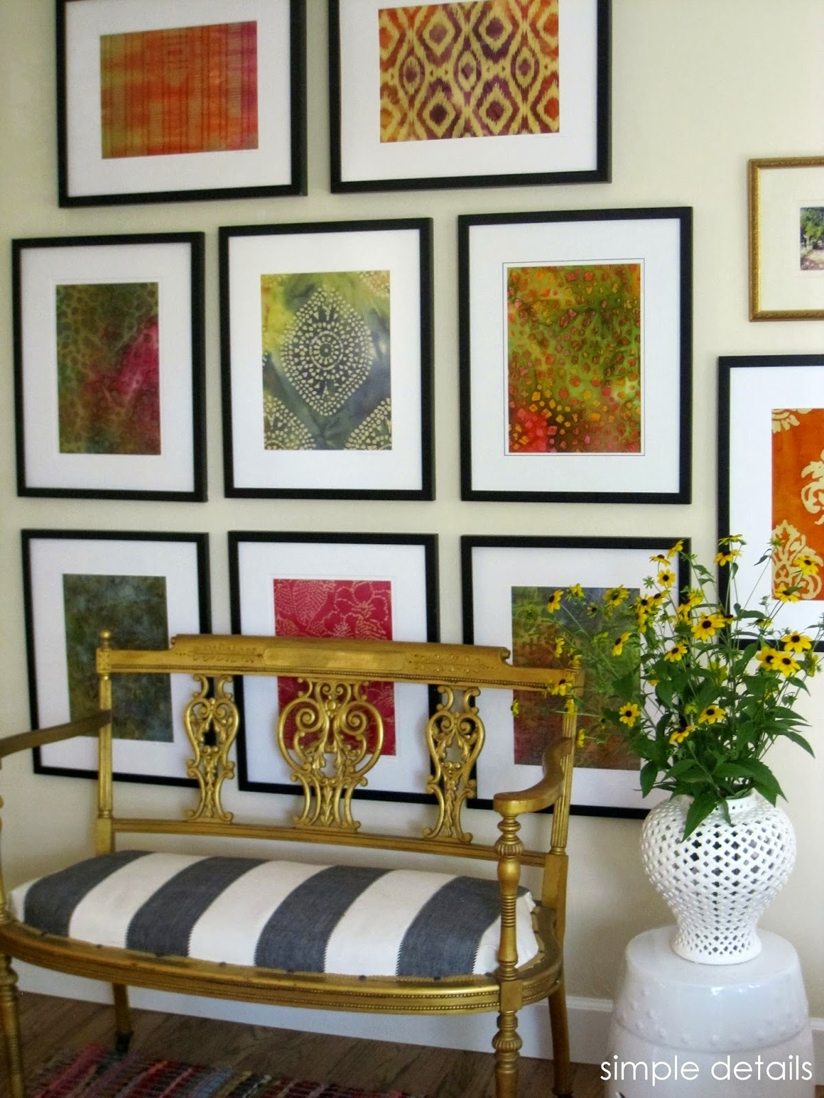 Simple Details: Diy Framed Batik Fabric Regarding Most Popular Vintage Fabric Wall Art (View 7 of 15)
