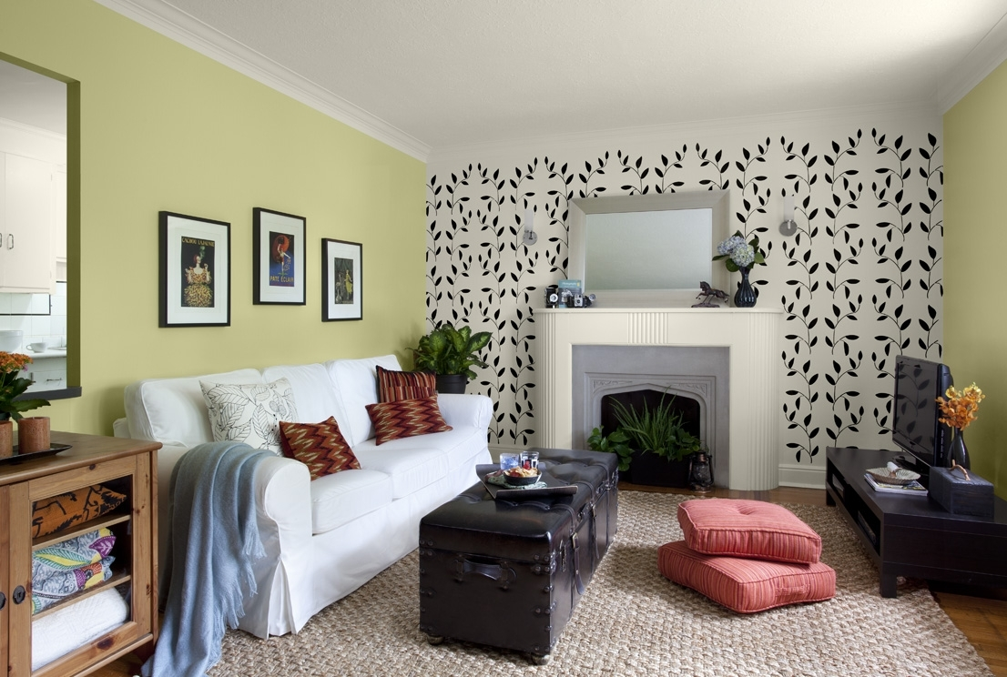 Simple Green Wallpaper Accent Wall For Living Rooms Wallpaper With Regard To Most Popular Wall Accents For Living Room (Gallery 10 of 15)