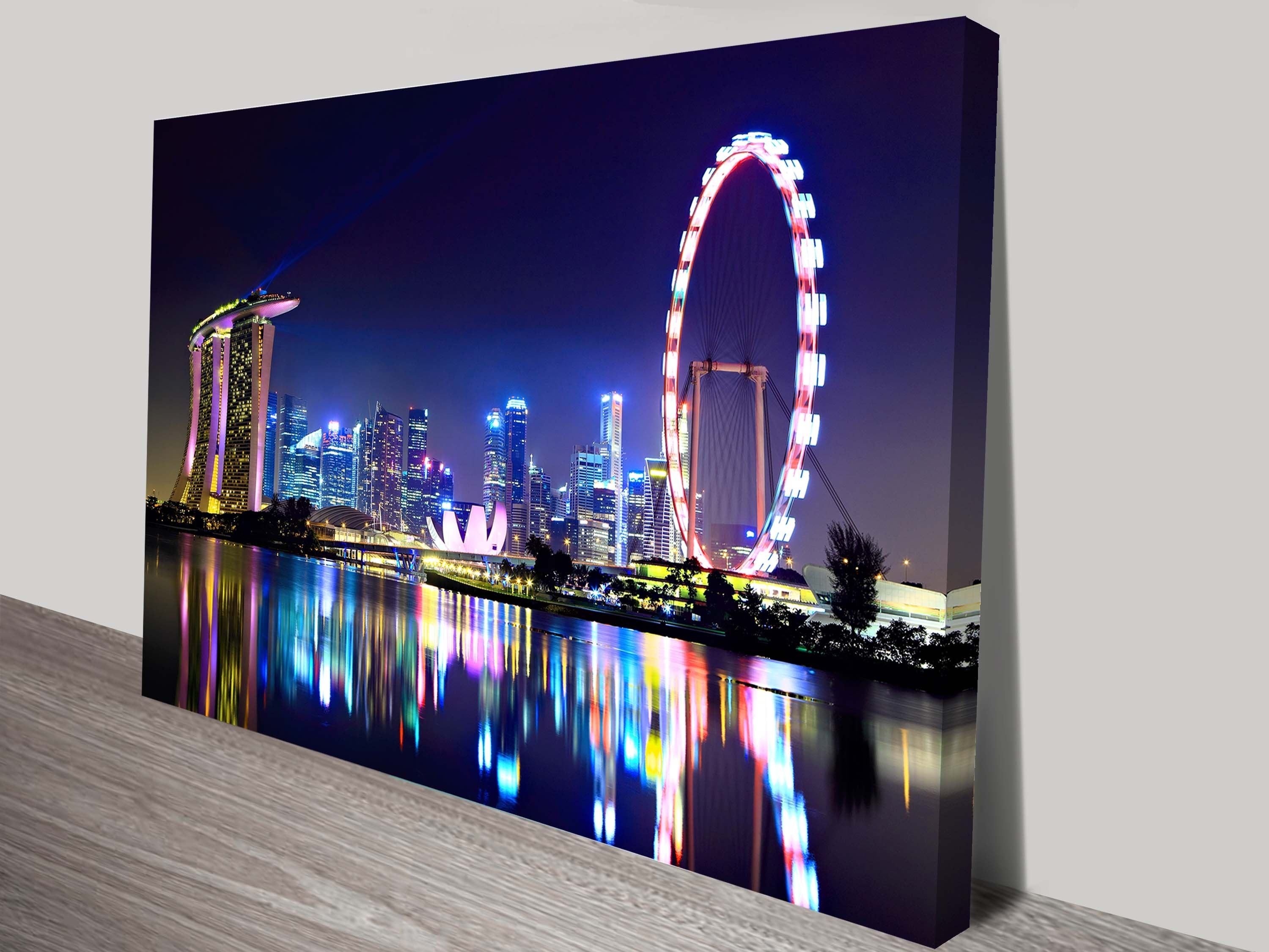 Singapore City Skyline Canvas Print Brisbane For Most Recent Brisbane Canvas Wall Art (Gallery 3 of 15)