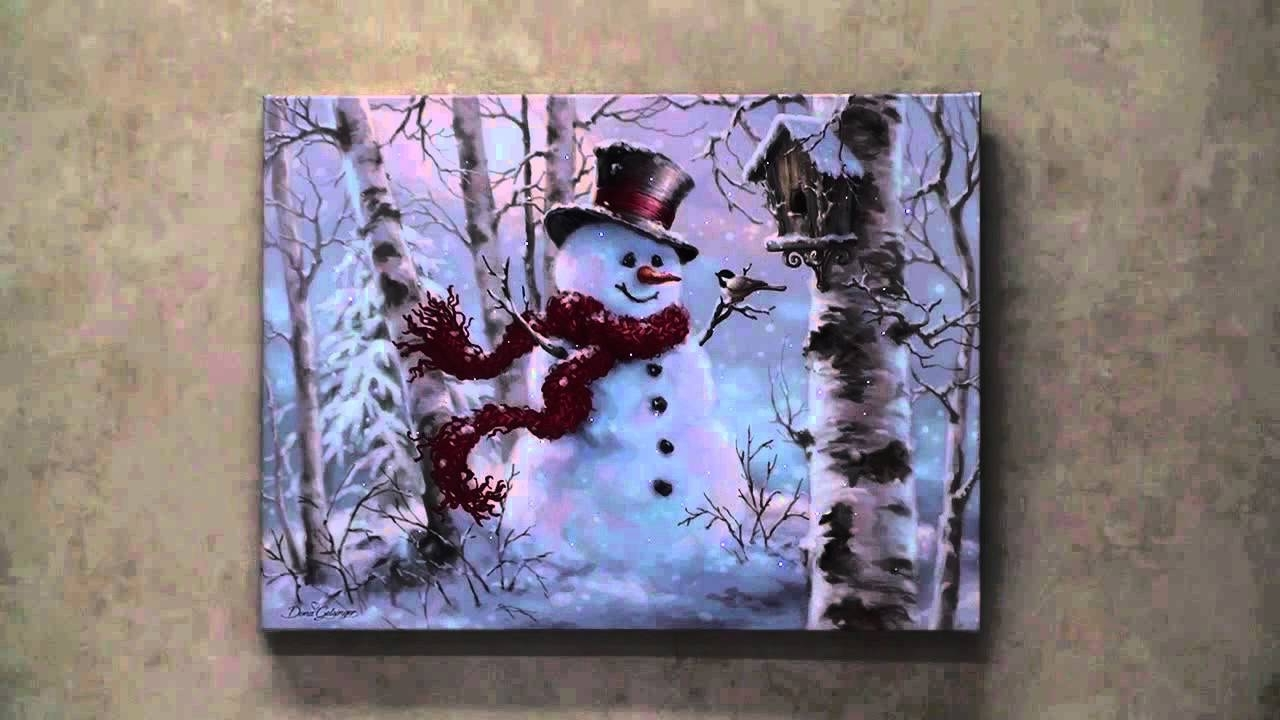Snowman Led Lighted Canvas Wall Art – Youtube Throughout Latest Lighted Canvas Wall Art (View 11 of 15)