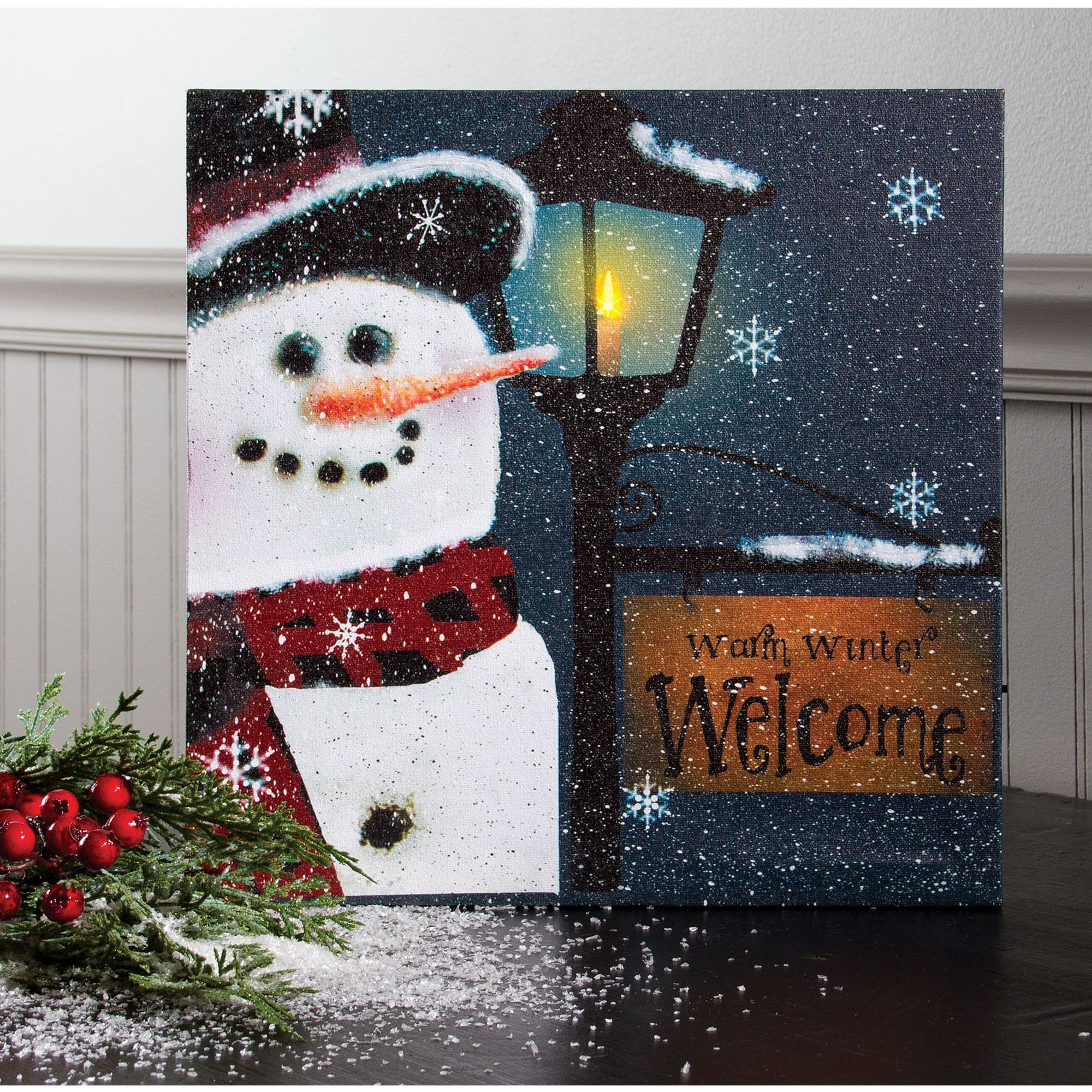 Snowman Welcome Lighted Canvas | Winter Lighted Wall Art Within 2018 Lighted Canvas Wall Art (Gallery 5 of 15)