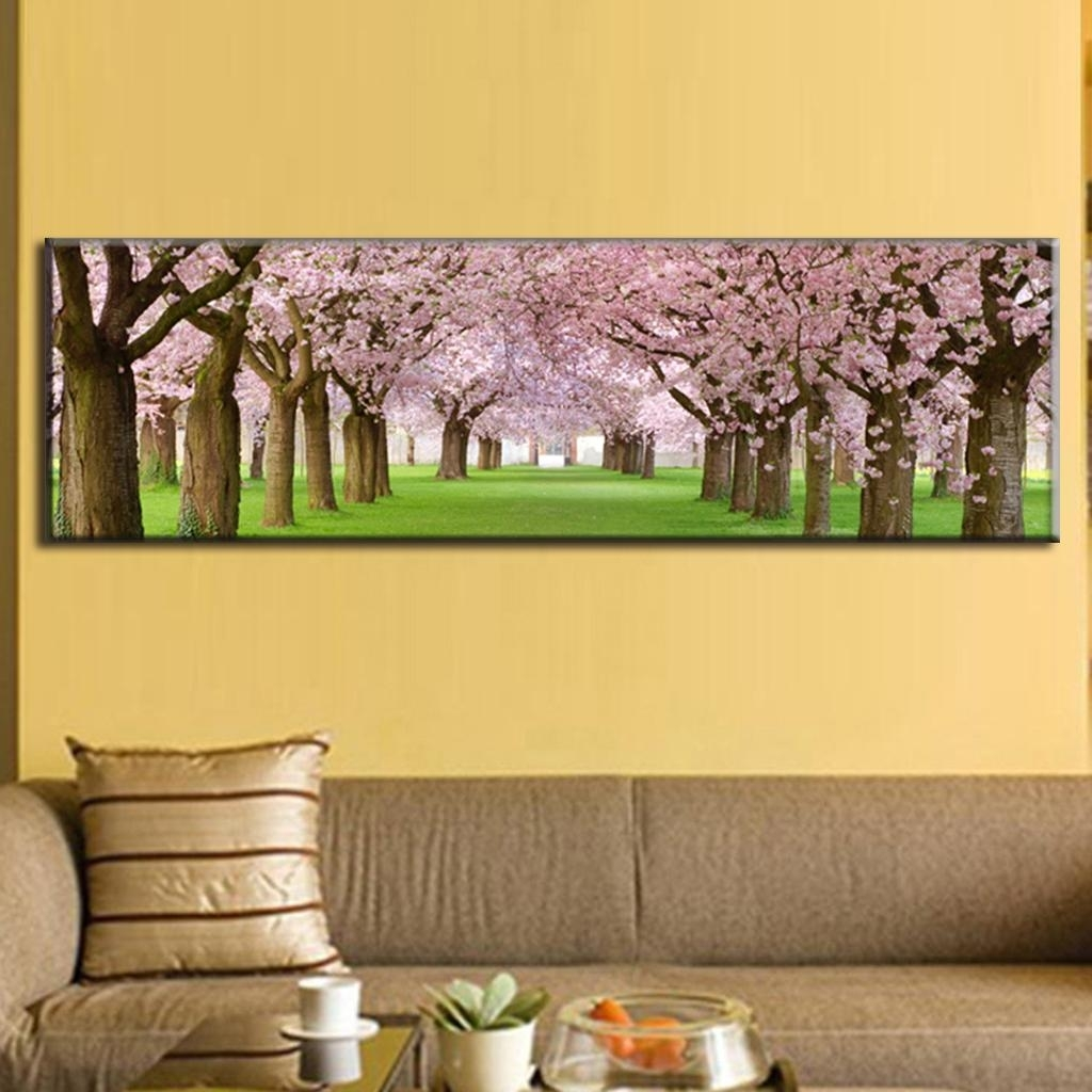 Soulful Whole Panel Waterfall Painting Canvas Wall Art Inside Most Popular Living Room Canvas Wall Art (View 13 of 15)