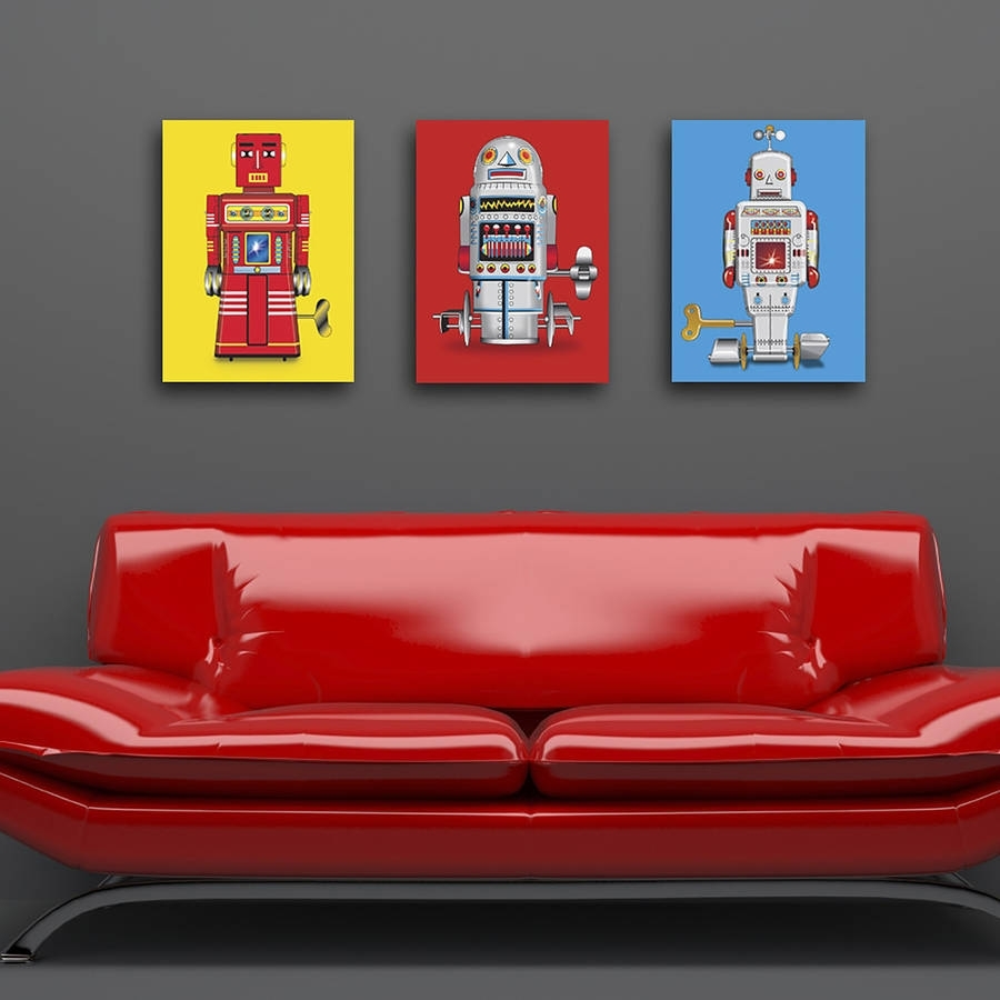 Sparking Robot Pop Art Canvas Printglyn West Design Intended For Most Popular Robot Canvas Wall Art (View 2 of 15)