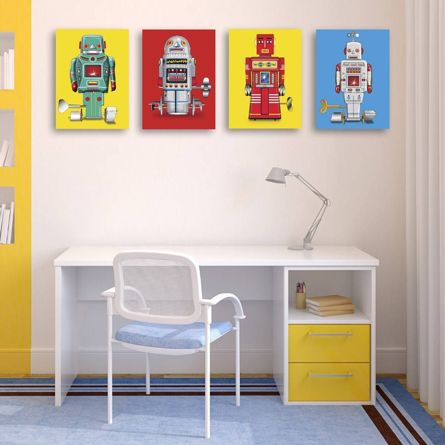 Sparking Robot Pop Art Canvas Printglyn West Design pertaining to Current Robot Canvas Wall Art