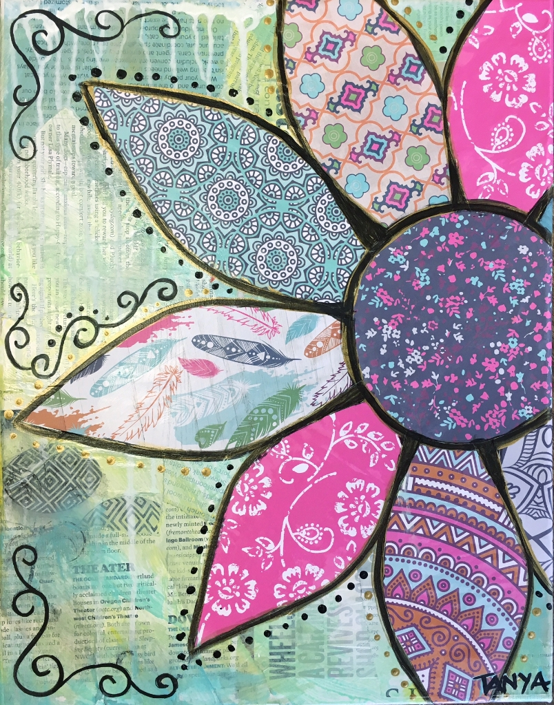 Spring Flower – Mixed Media Decoupage – Friday – Vincent's Loft Throughout 2017 Fabric Decoupage Wall Art (View 13 of 15)