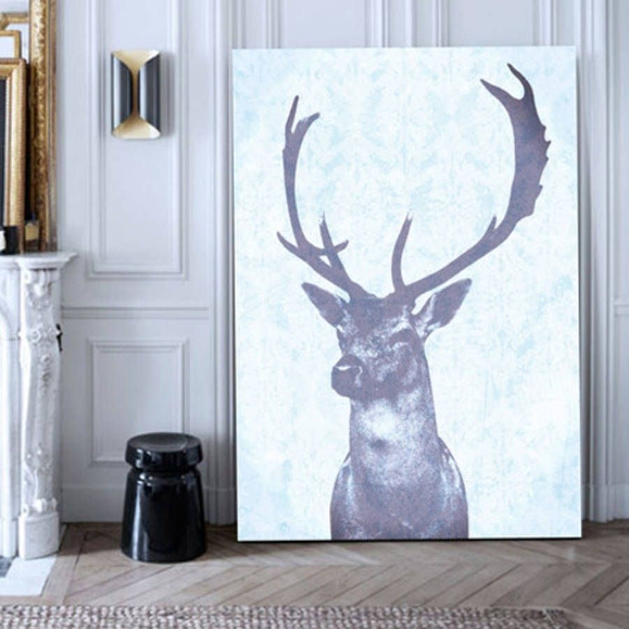 Stag Blue, Canvas Art | Deer Art, Dining Room Wall Decor And Throughout Best And Newest Deer Canvas Wall Art (Gallery 15 of 15)