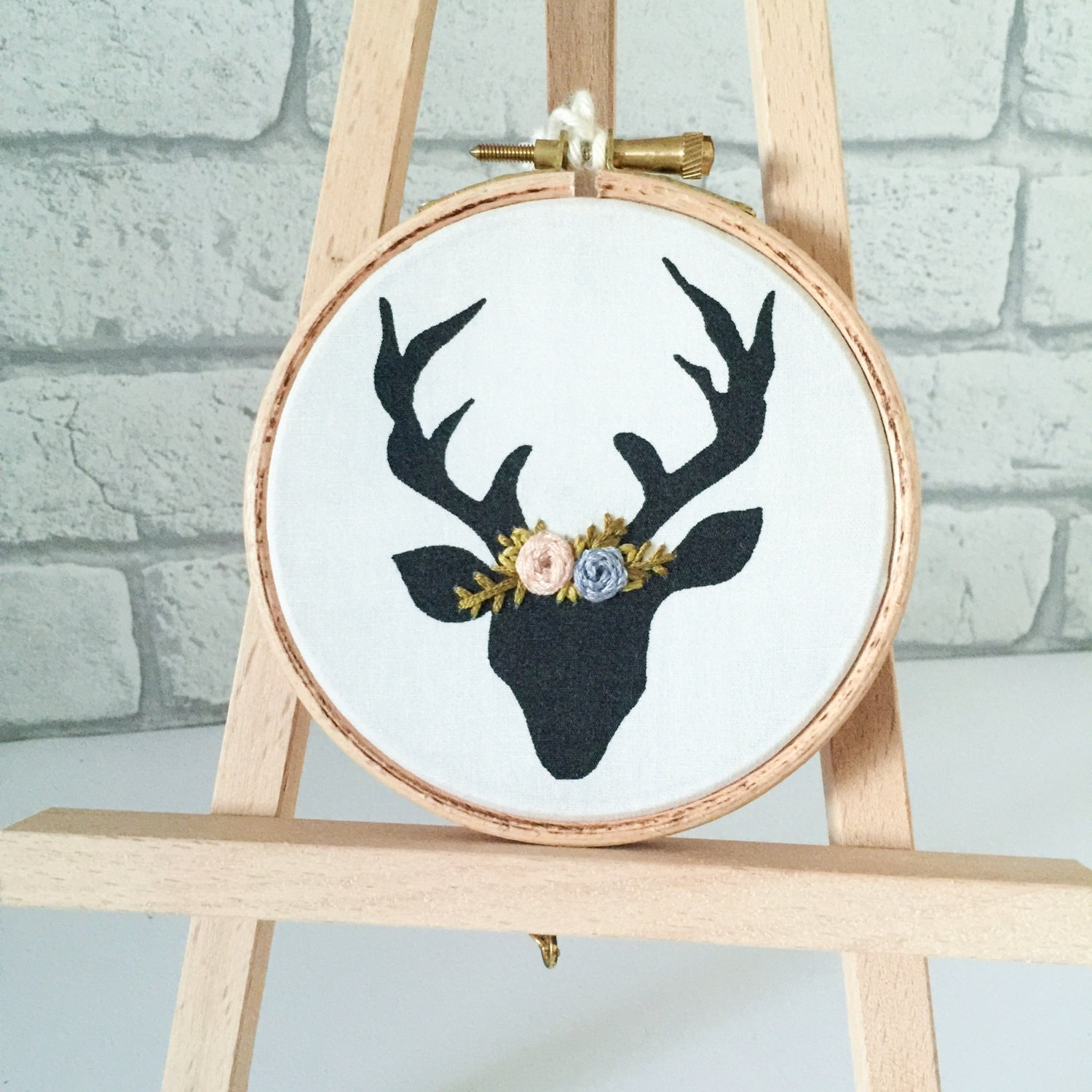 Stag Head, Hand Embroidery, Deer Head, Wall Hanging, Embroidery Pertaining To Most Recently Released Fabric Hoop Wall Art (View 10 of 15)