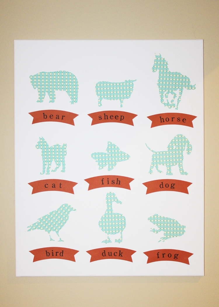 Stamp Camp: Nursery Wall Art – Animal Silhouettes Pertaining To Current Fabric Animal Silhouette Wall Art (View 12 of 15)