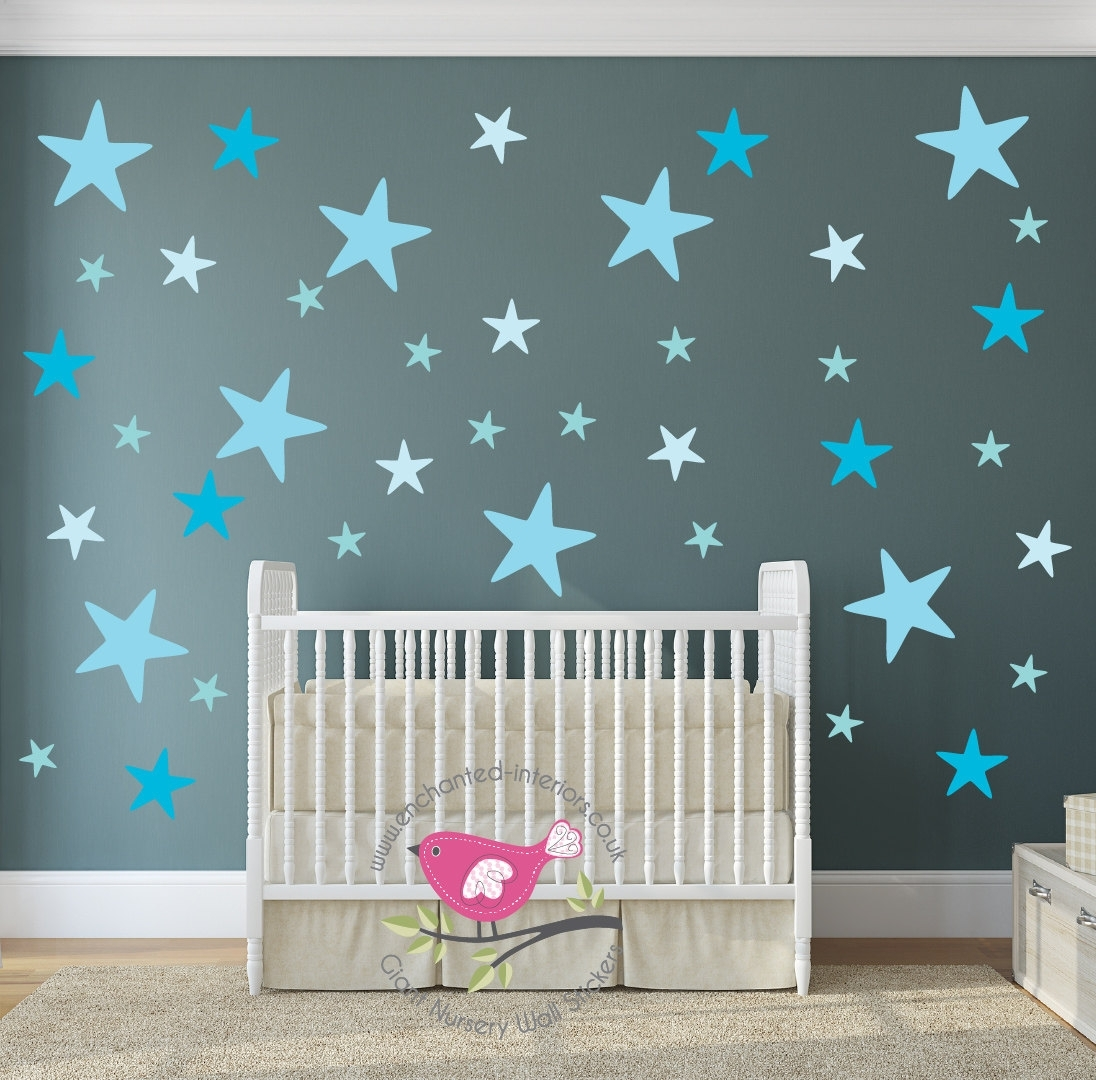 Star Decals, Aqua Blue Nursery Room, Baby Wall Stickers, Geometric In Most Current Baby Nursery Fabric Wall Art (Gallery 9 of 15)