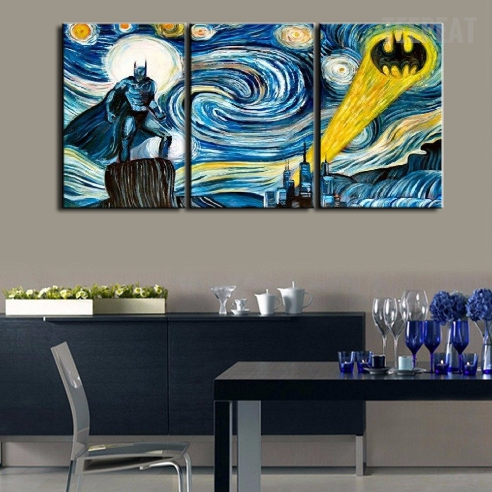 Starry Night – Batman Three Piece Canvasbatman Wall Decals Are With Regard To Most Recently Released Murals Canvas Wall Art (View 5 of 15)