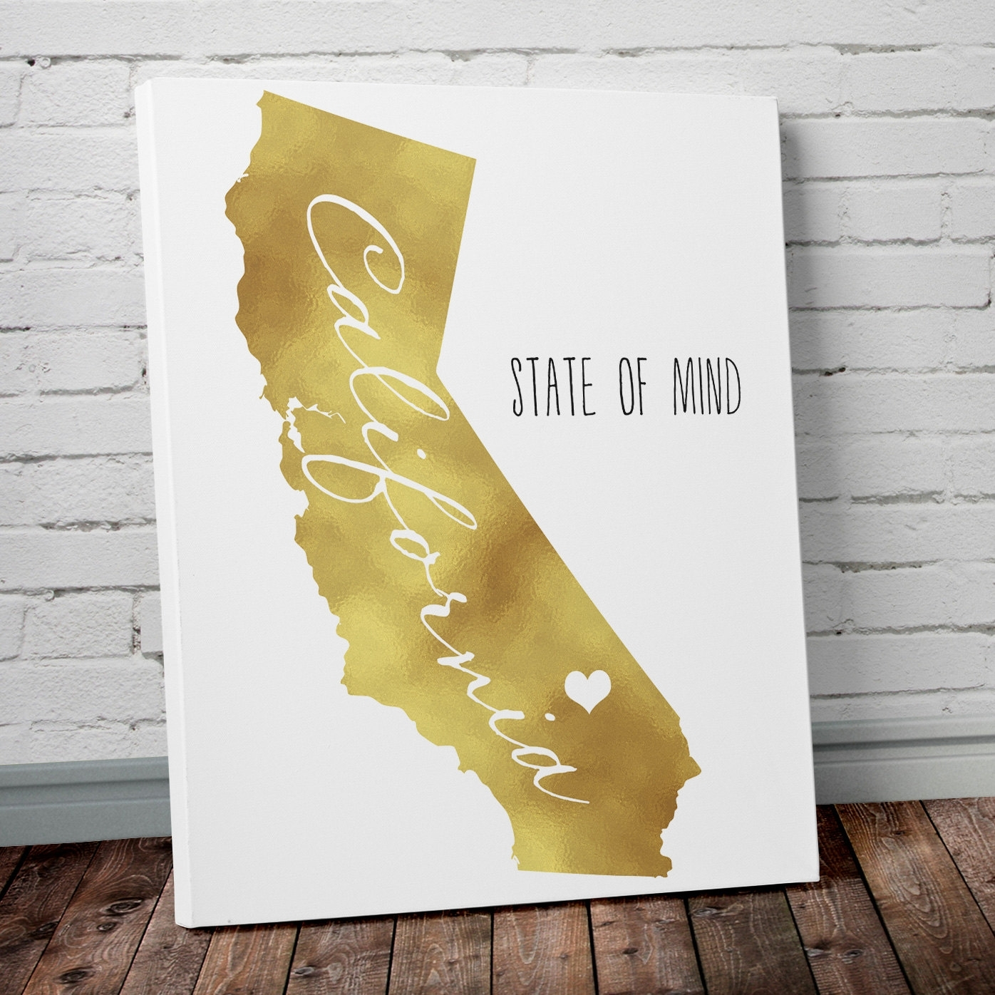State Wall Art With Gold Foil  Project Cottage Pertaining To 2018 Gold Canvas Wall Art (View 9 of 15)