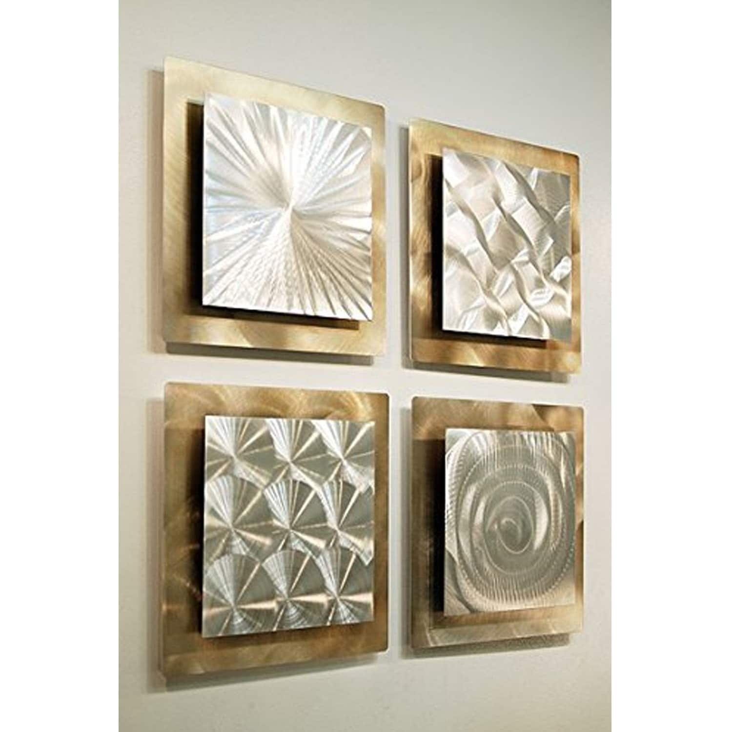 Statements2000 Set Of 4 Gold / Silver Metal Wall Art Accentjon Throughout 2018 Rectangular Wall Accents (View 12 of 15)