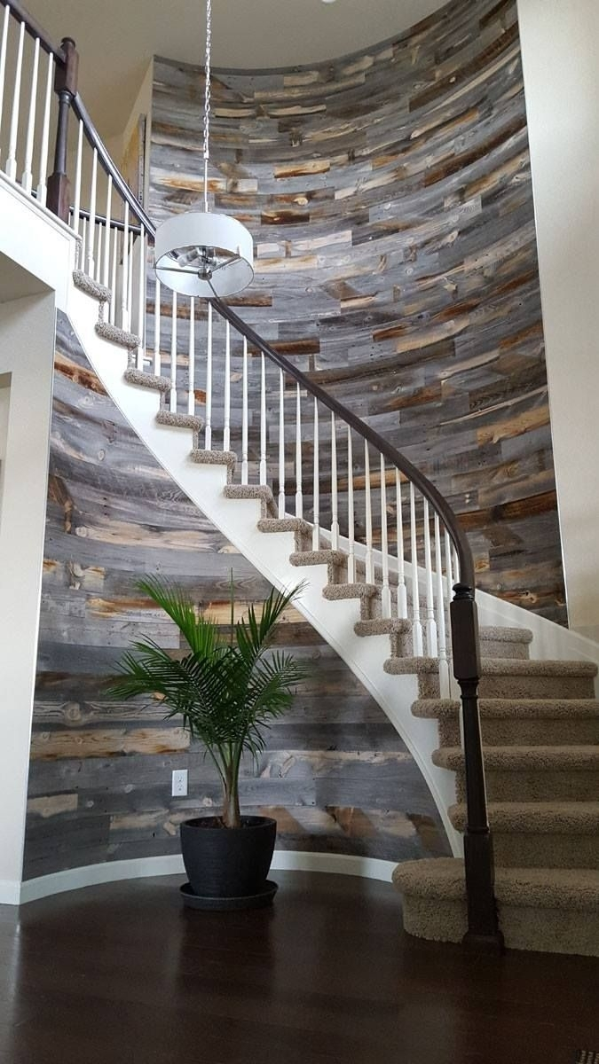 Stikwooddesign Reclaimed Weathered Wood Staircase Wall Accent Throughout Best And Newest Staircase Wall Accents (Gallery 11 of 15)
