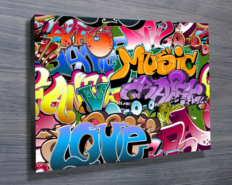 Street Graffiti Wall Art On Canvasblue Horizon Prints Http Throughout Most Current Graffiti Canvas Wall Art (View 8 of 15)