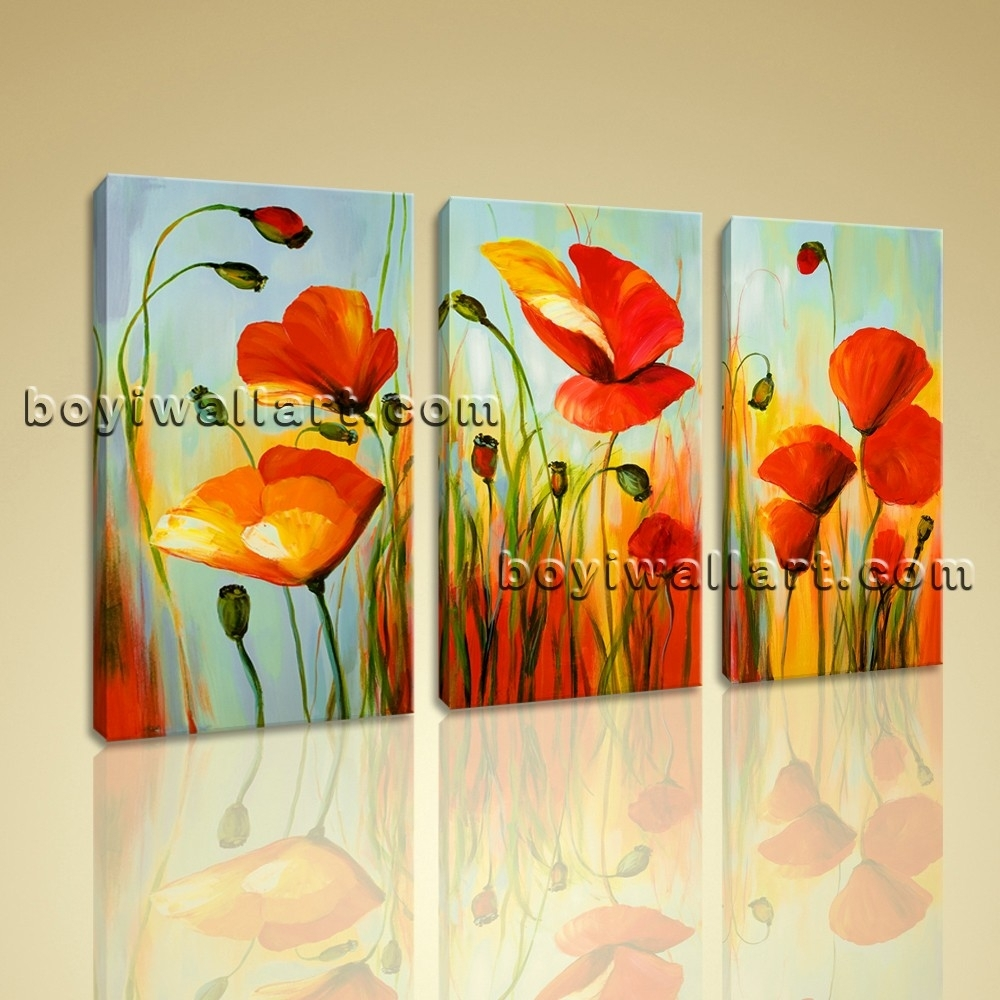 Stretched Canvas Prints Abstract Flowers Poppy Wall Art Picture In Newest Poppies Canvas Wall Art (View 10 of 15)