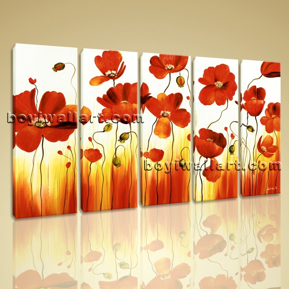 Stretched Canvas Wall Art Prints Abstract Painting Poppy Flowers Regarding Latest Flowers Framed Art Prints (View 12 of 15)