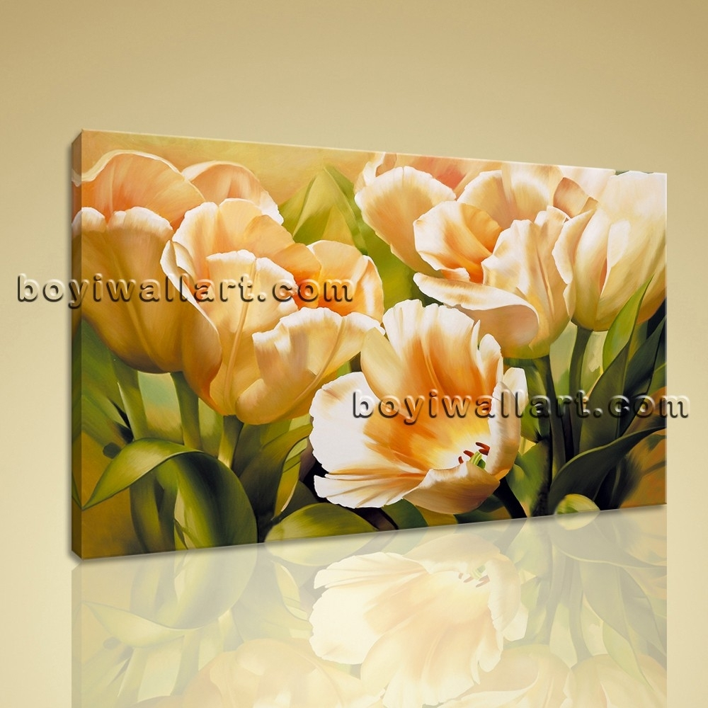 Stretched Canvas Wall Art Prints Abstract Painting Tulip Flowers With Regard To Most Recent Flowers Framed Art Prints (View 13 of 15)