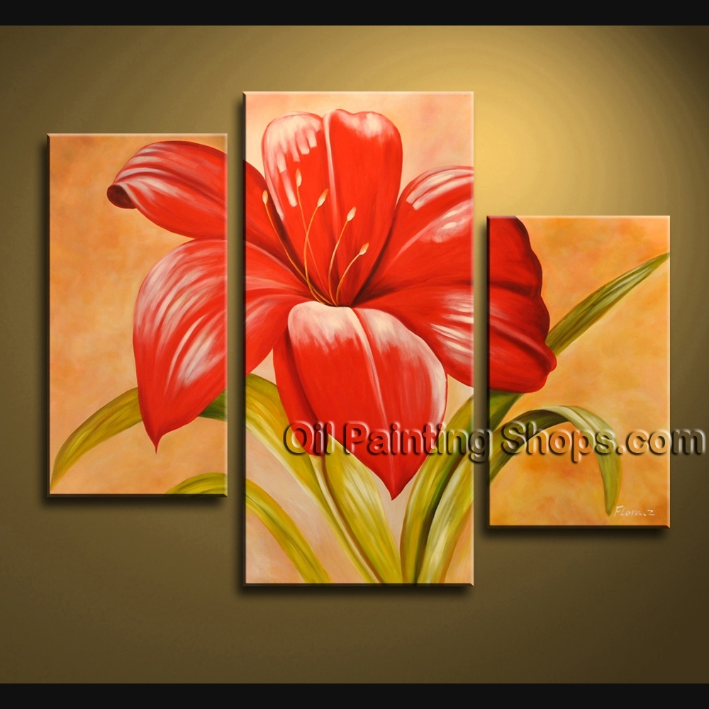 Stunning Contemporary Wall Art Oil Painting On Canvas Panels Intended For Newest Red Flowers Canvas Wall Art (View 6 of 15)
