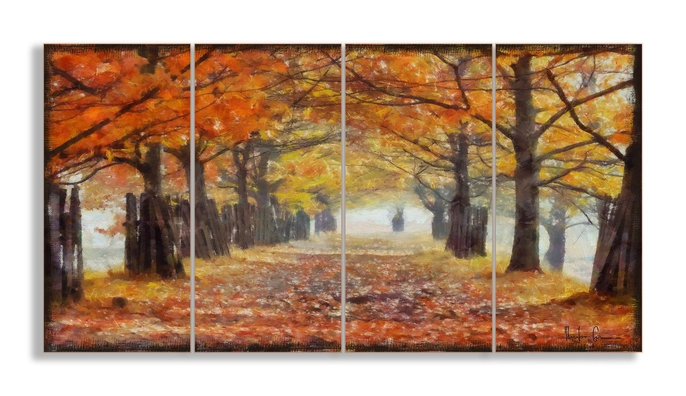 Stupell Industries A Walk Through The Autumn Trees 4 Piece Canvas Inside Most Current Canvas Wall Art Of Trees (View 13 of 15)