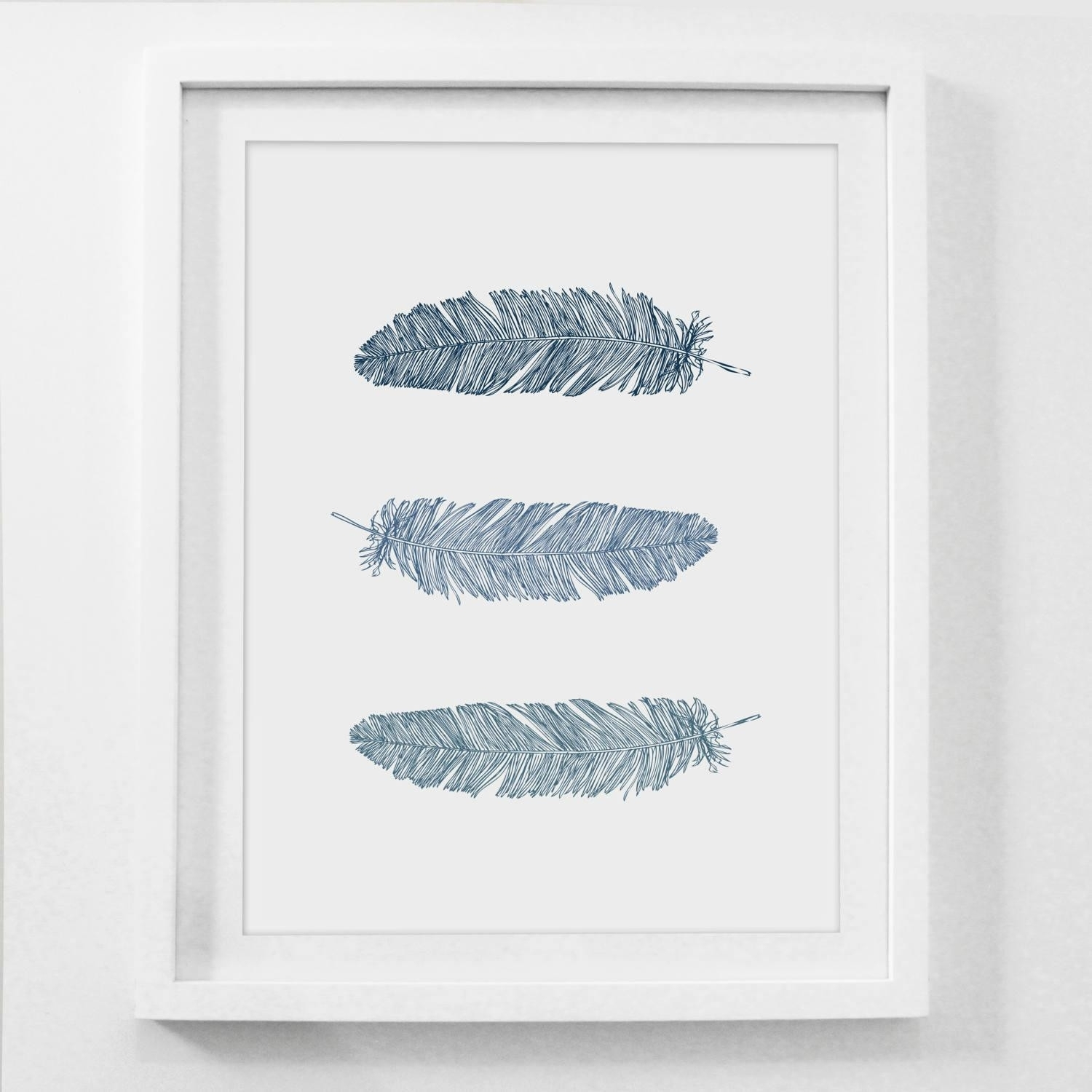 Stylist Ideas Navy Blue Wall Art 20 Collection Of Feather Prints With Regard To Most Current Navy Canvas Wall Art (View 8 of 15)