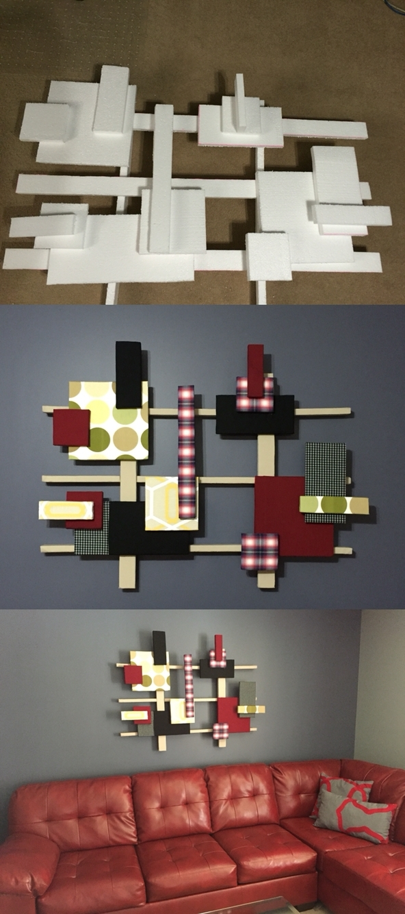 Styrofoam Wall Art, Reused Old Curtains And Dress Shirts Light Regarding Latest Styrofoam Fabric Wall Art (View 9 of 15)
