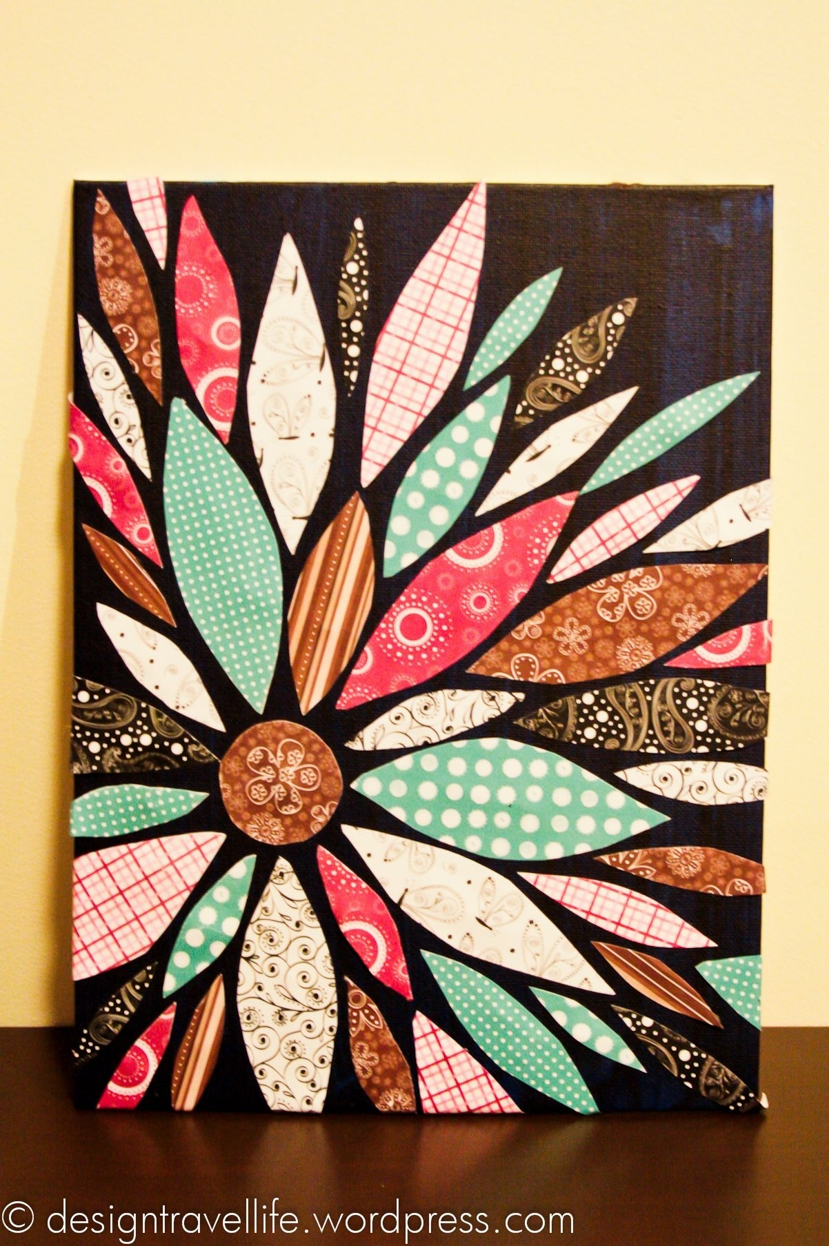 Summer Crafting Day 12 – Paper Flower Canvas Art | Flower Canvas Regarding Most Up To Date Fabric Scrap Wall Art (Gallery 12 of 15)