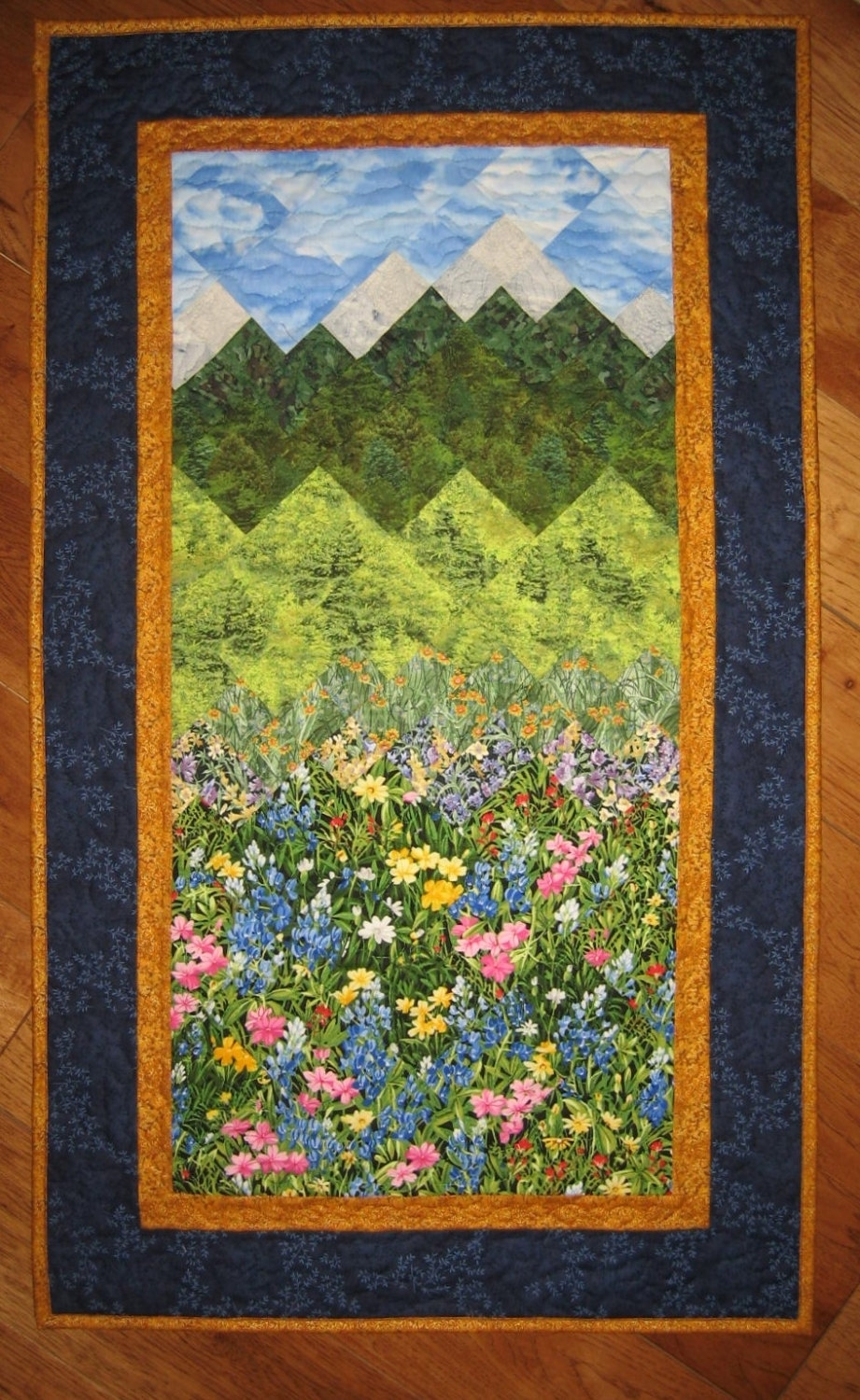 Summer Flowers And Mountains Art Quilt Fabric Wall Hanging Quilted Within Most Recently Released Quilt Fabric Wall Art (View 2 of 15)