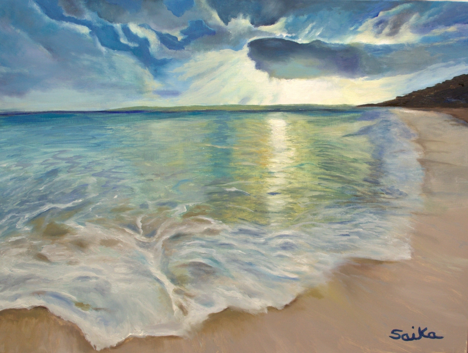 Summer Love, Oil Painting 18x24, Beach Scene,ocean, Wall Art, Home In Best And Newest Canvas Wall Art Beach Scenes (View 6 of 15)