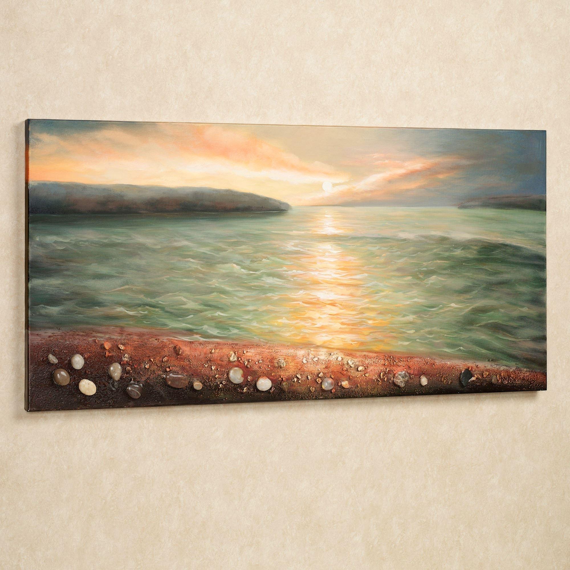 Sunrise On Pebble Beach Canvas Wall Art Inside Most Popular Beach Canvas Wall Art (Gallery 5 of 15)