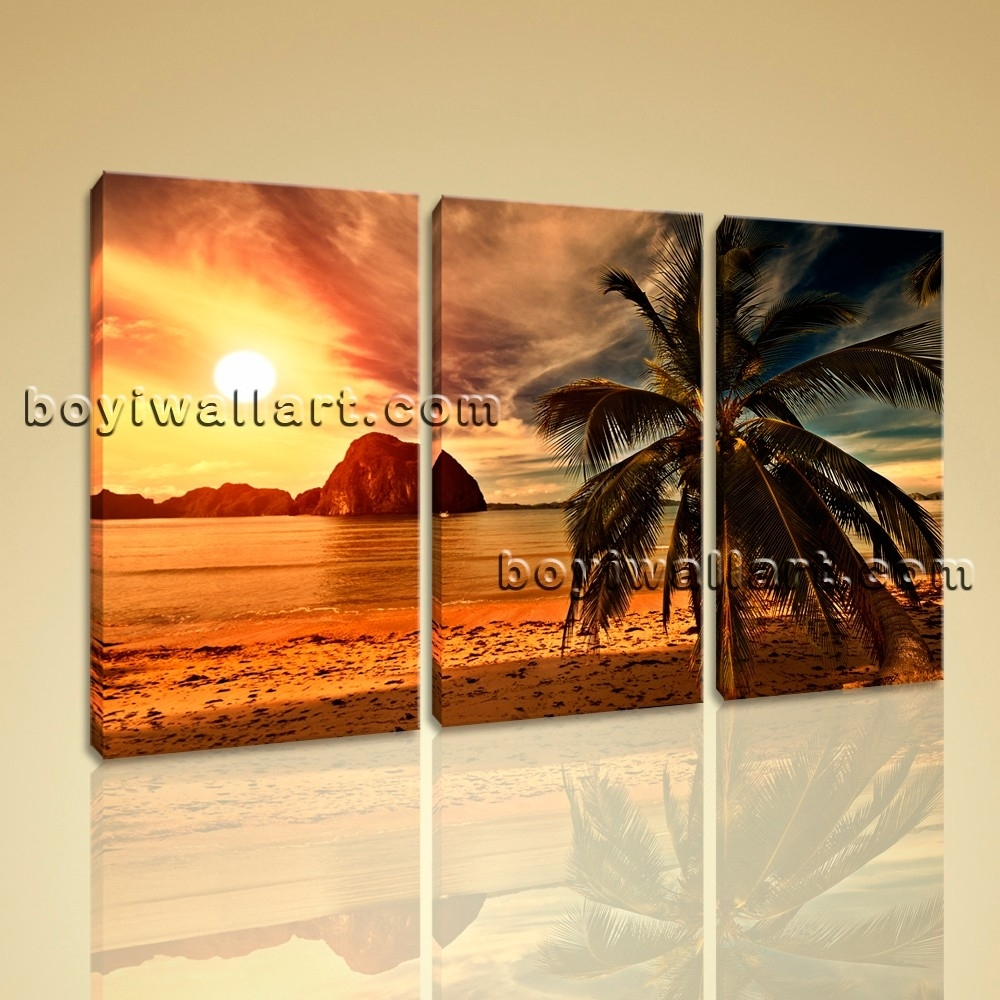 Sunset Landscape Contemporary Beach Hd Picture Print On Canvas For Most Recently Released Landscape Canvas Wall Art (View 14 of 15)