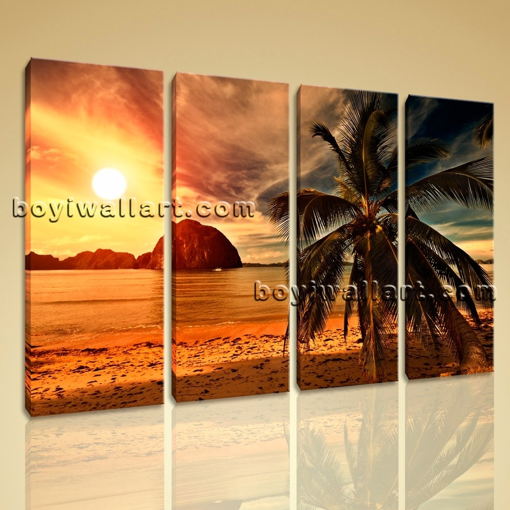 Sunset Landscape Contemporary Beach Hd Picture Print On Canvas For Recent Nature Canvas Wall Art (View 14 of 15)